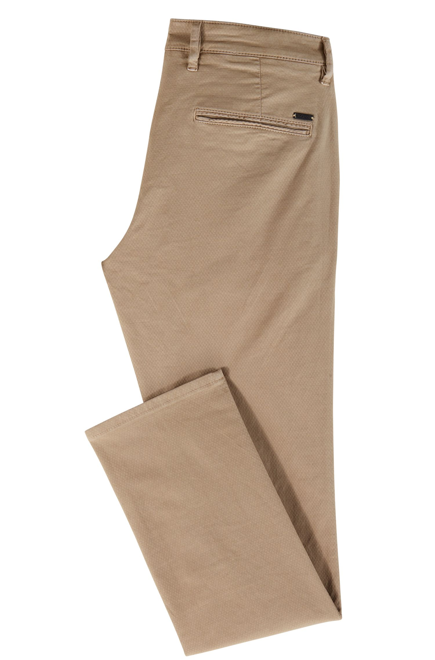 Slim-fit trousers in structured stretch cotton, Beige