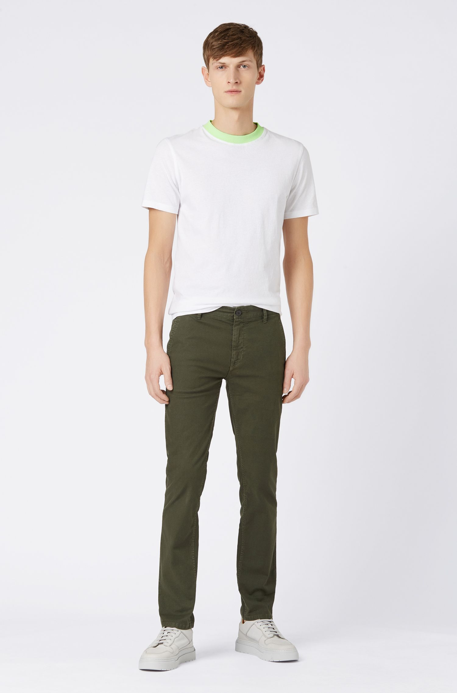 Pantalon Slim Fit en coton stretch structuré, Vert sombre