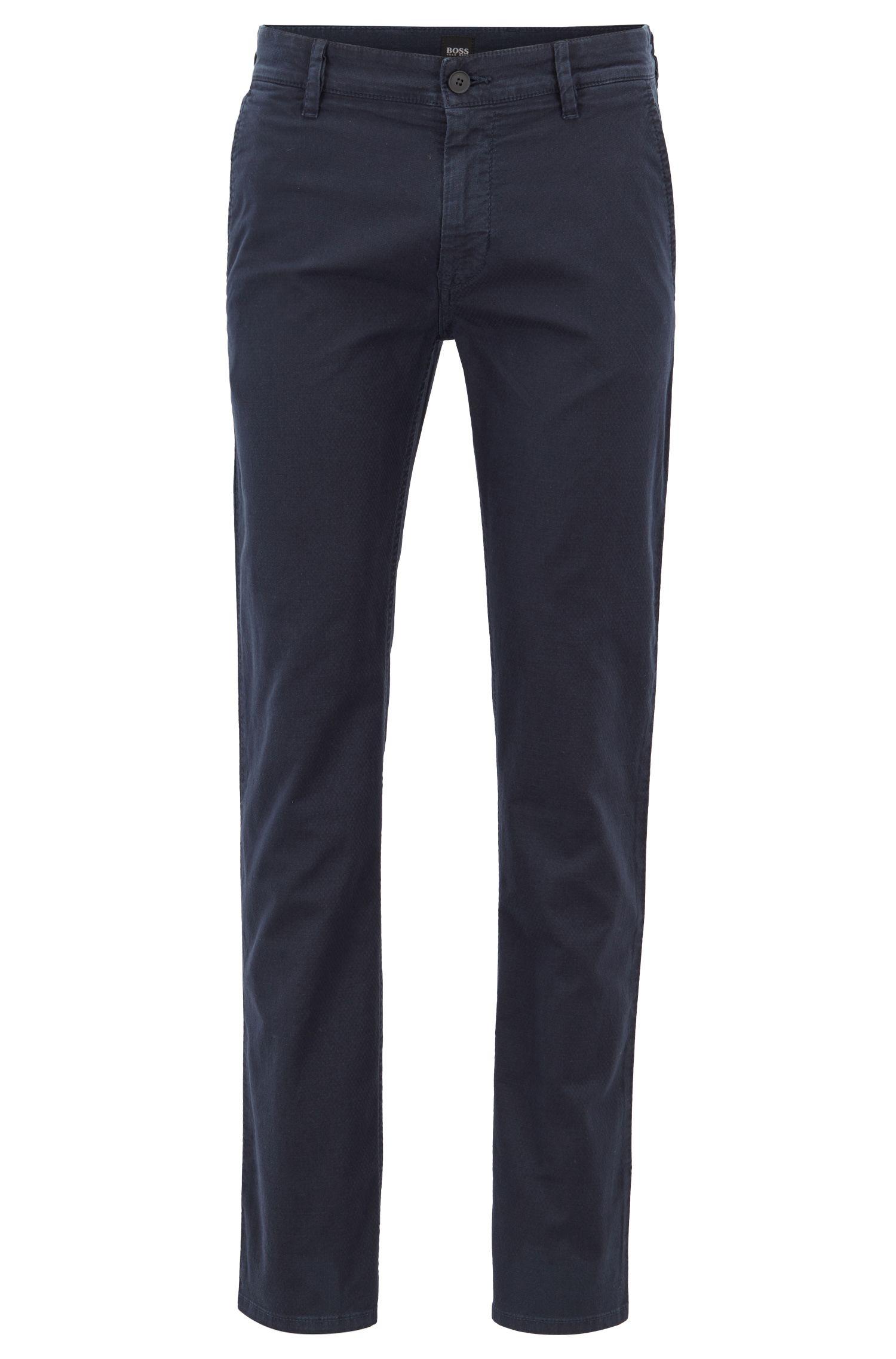 Pantaloni slim fit in cotone elasticizzato strutturato, Blu scuro