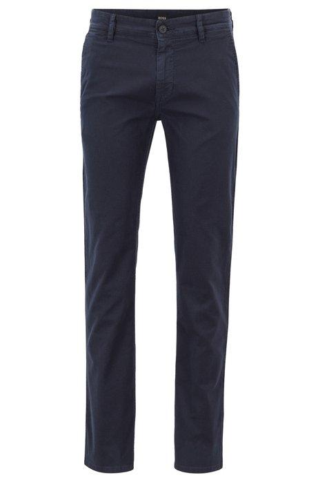 Slim-Fit Hose aus strukturierter Stretch-Baumwolle, Dunkelblau