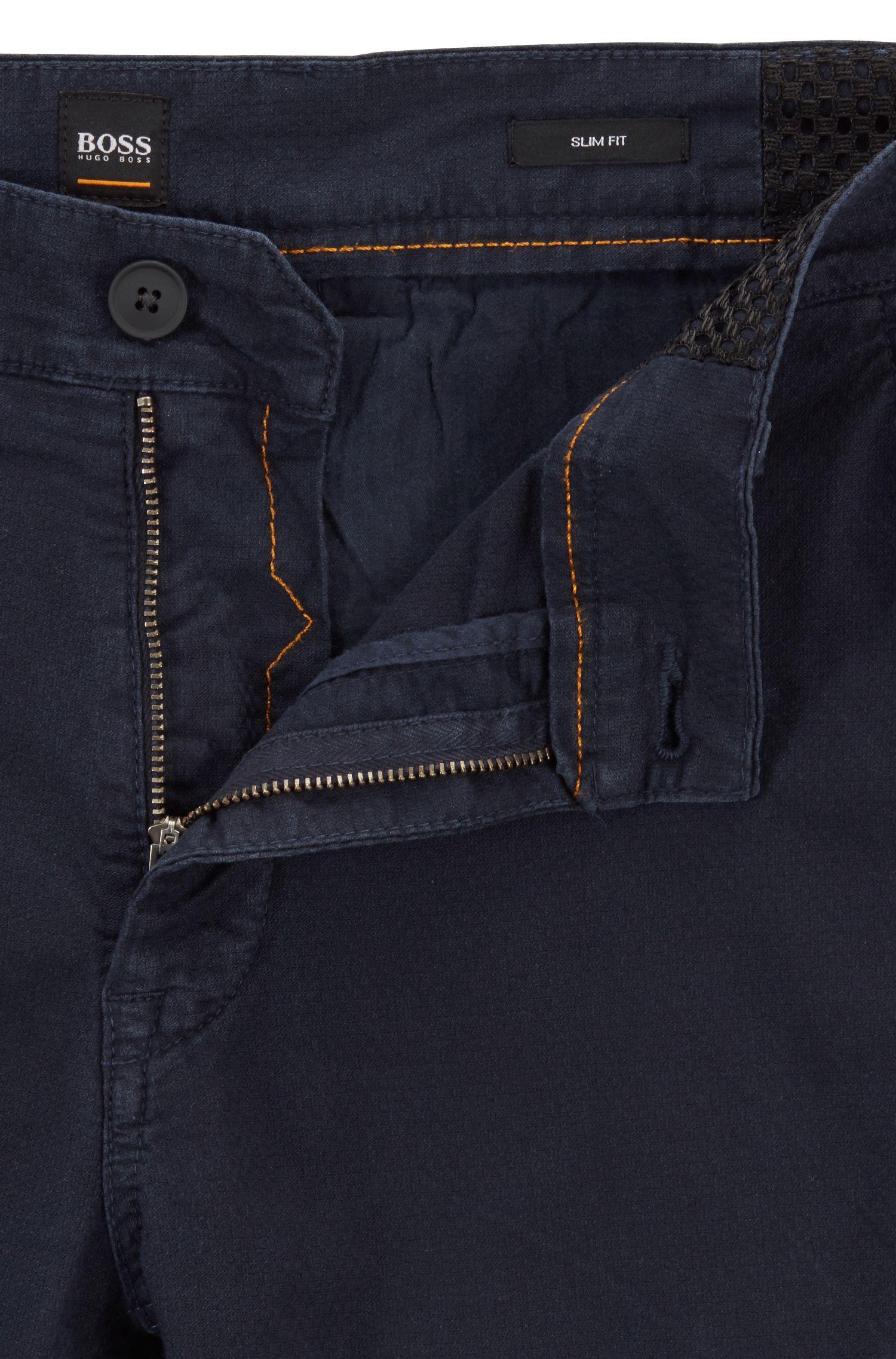 Slim-fit trousers in structured stretch cotton, Dark Blue