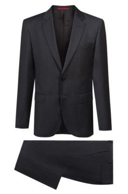 Regular-Fit Anzug aus Schurwoll-Mix mit dezentem geometrischem Muster, Anthrazit