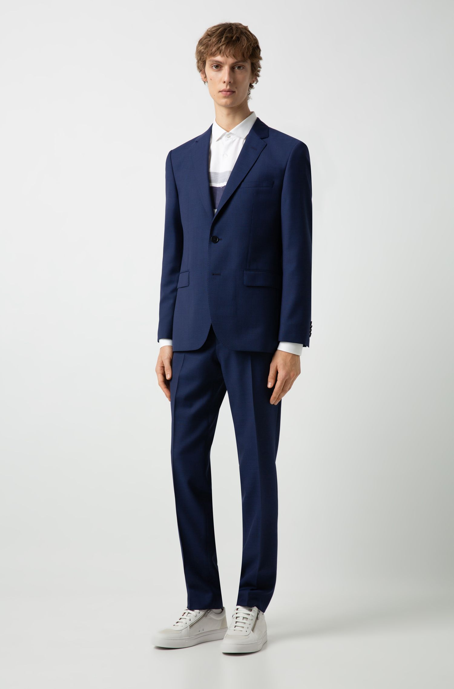 Regular-fit suit with a geometric micro pattern, Blue