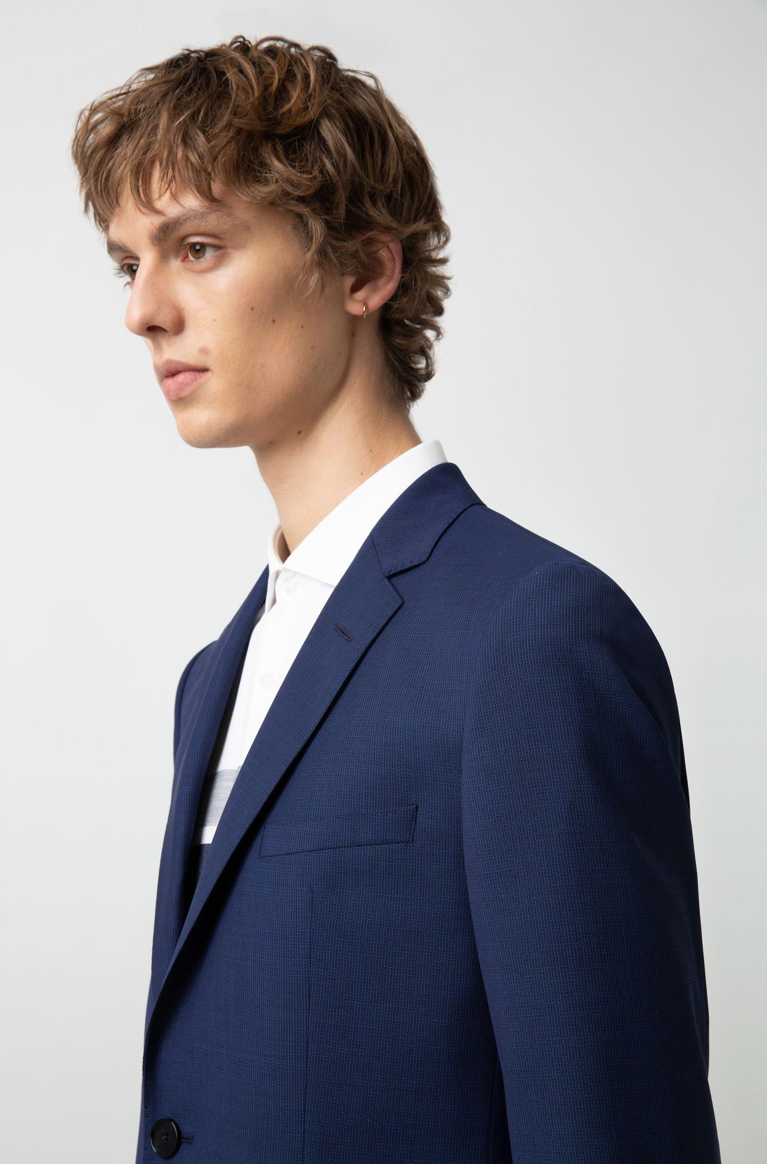 Costume Regular Fit à micro-motif géométrique, Bleu