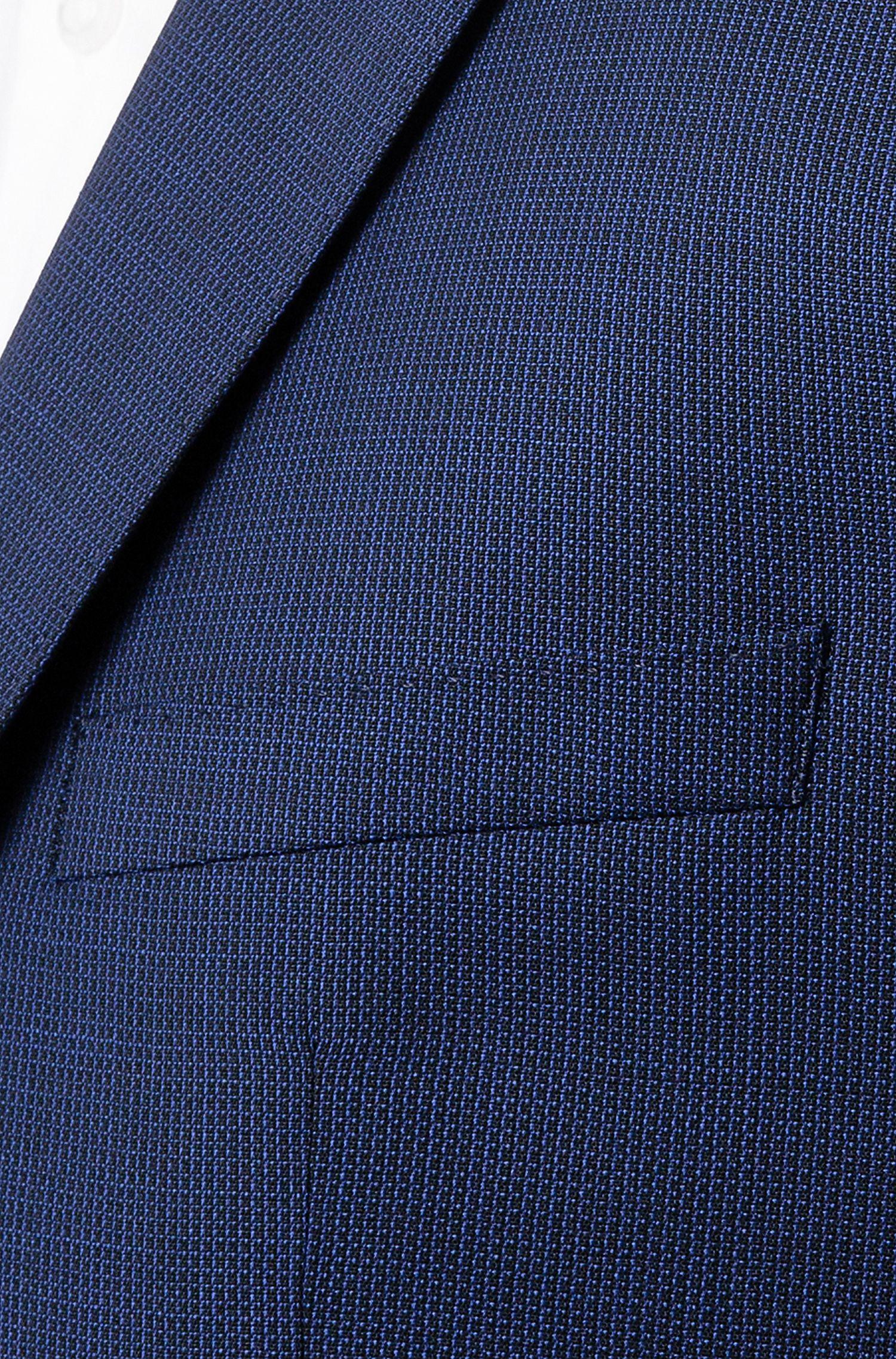Regular-Fit Anzug aus Schurwoll-Mix mit dezentem geometrischem Muster, Blau