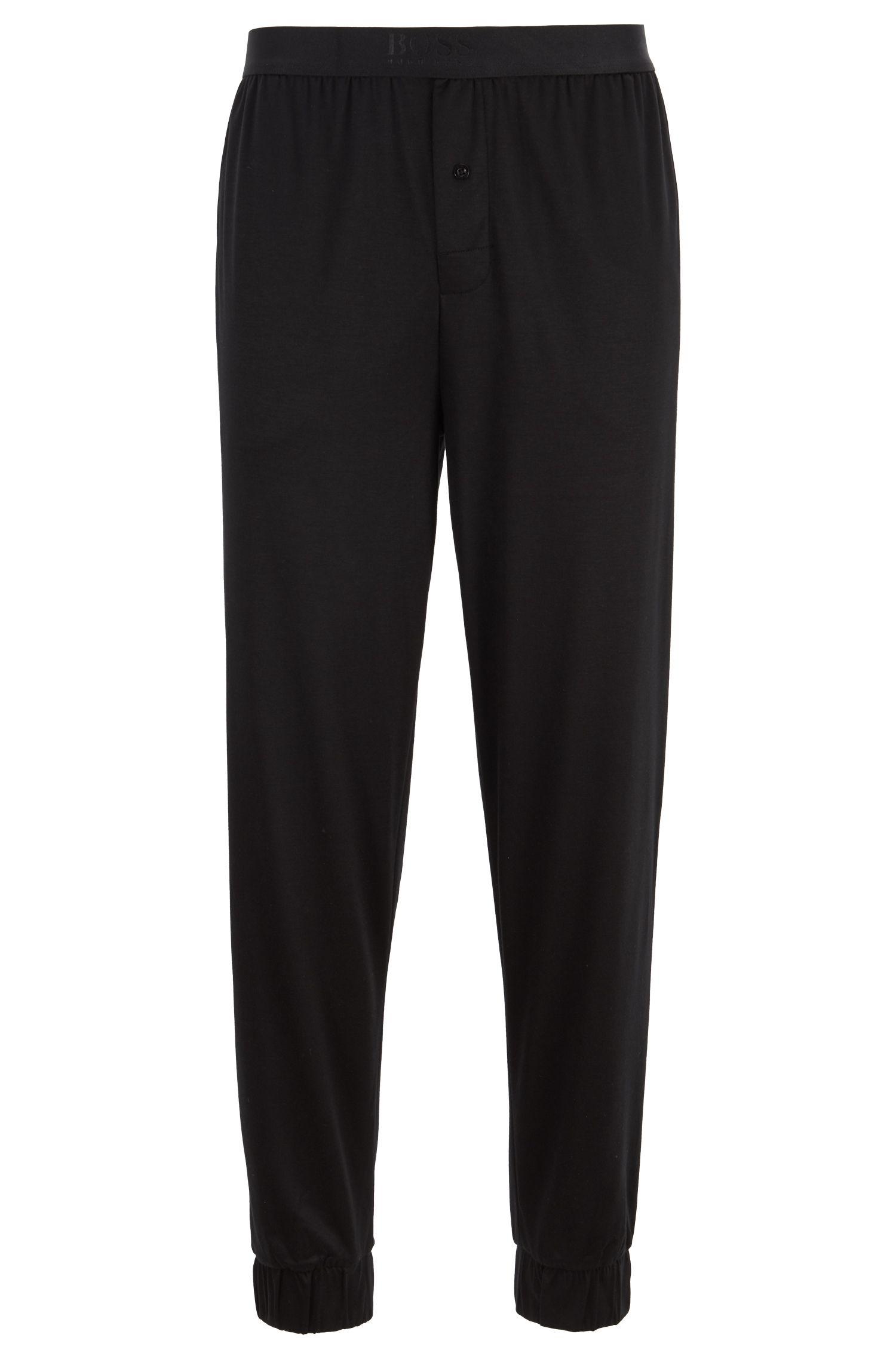 Bas de pyjama resserré au bas des jambes en mélange de coton et de modal, Noir