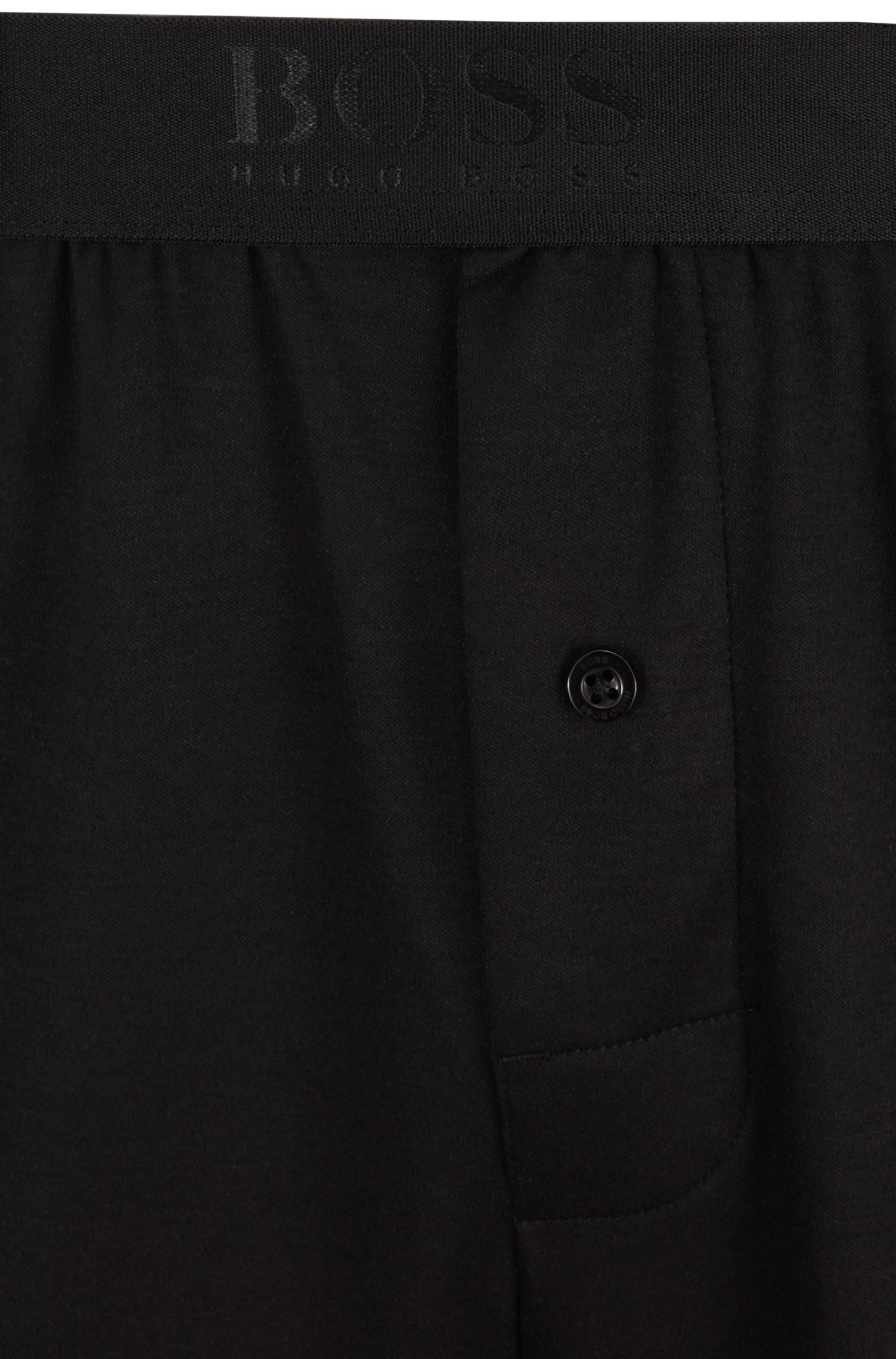 Pyjamabroek in een mix van katoen en modal met beenboorden, Zwart