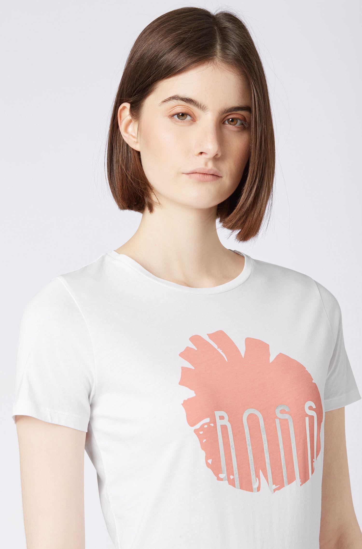 T-shirt regular fit in cotone con stampa floreale e dettaglio laminato, Bianco