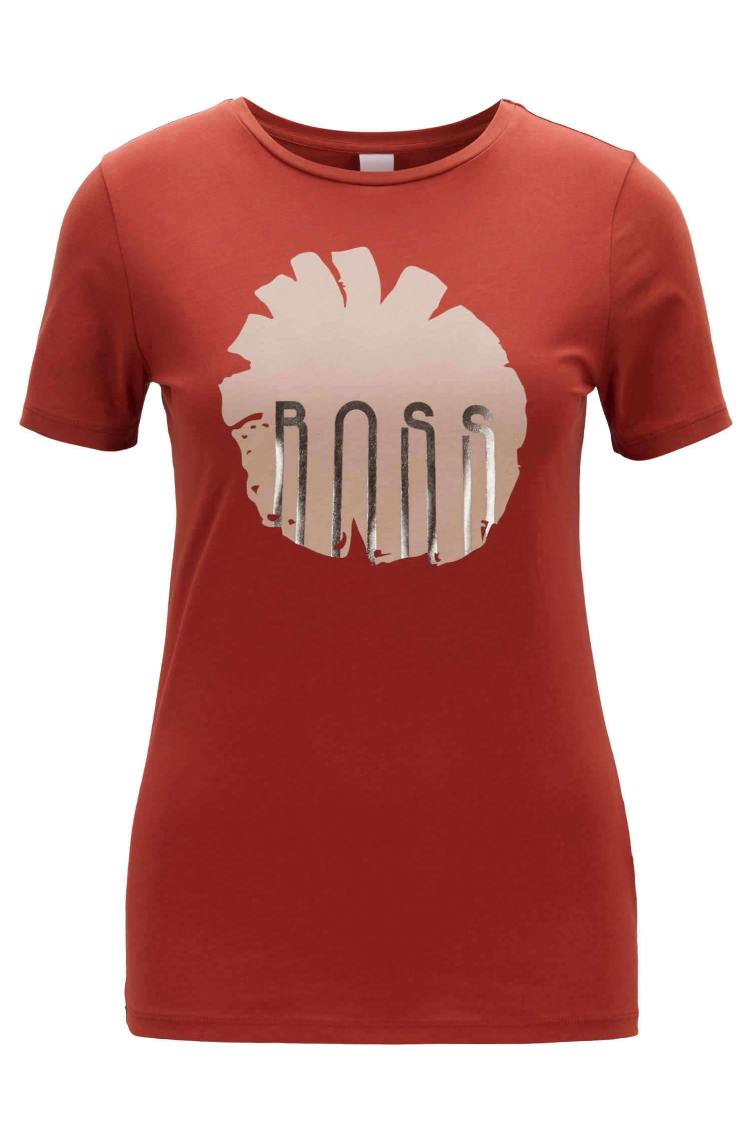 Regular-fit cotton T-shirt with floral and foil print, Brown