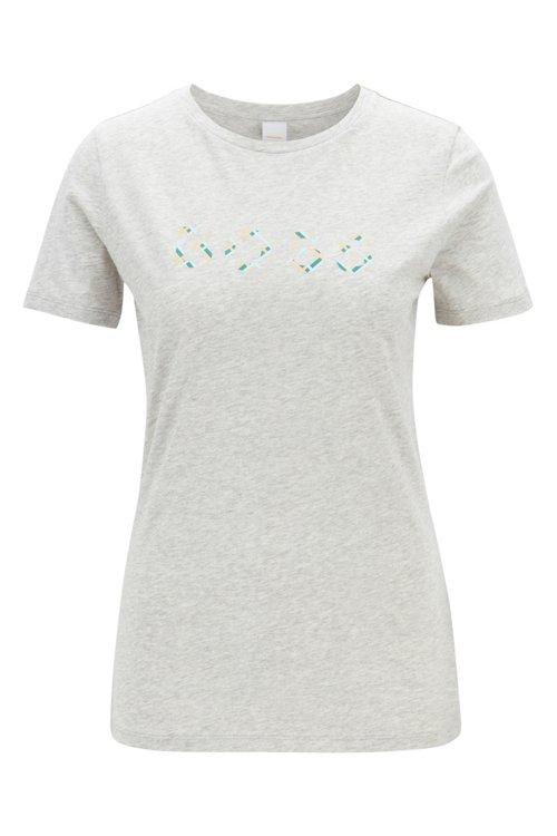 Hugo Boss - Camiseta en punto sencillo de algodón con logotipo estampado a cuadros - 1
