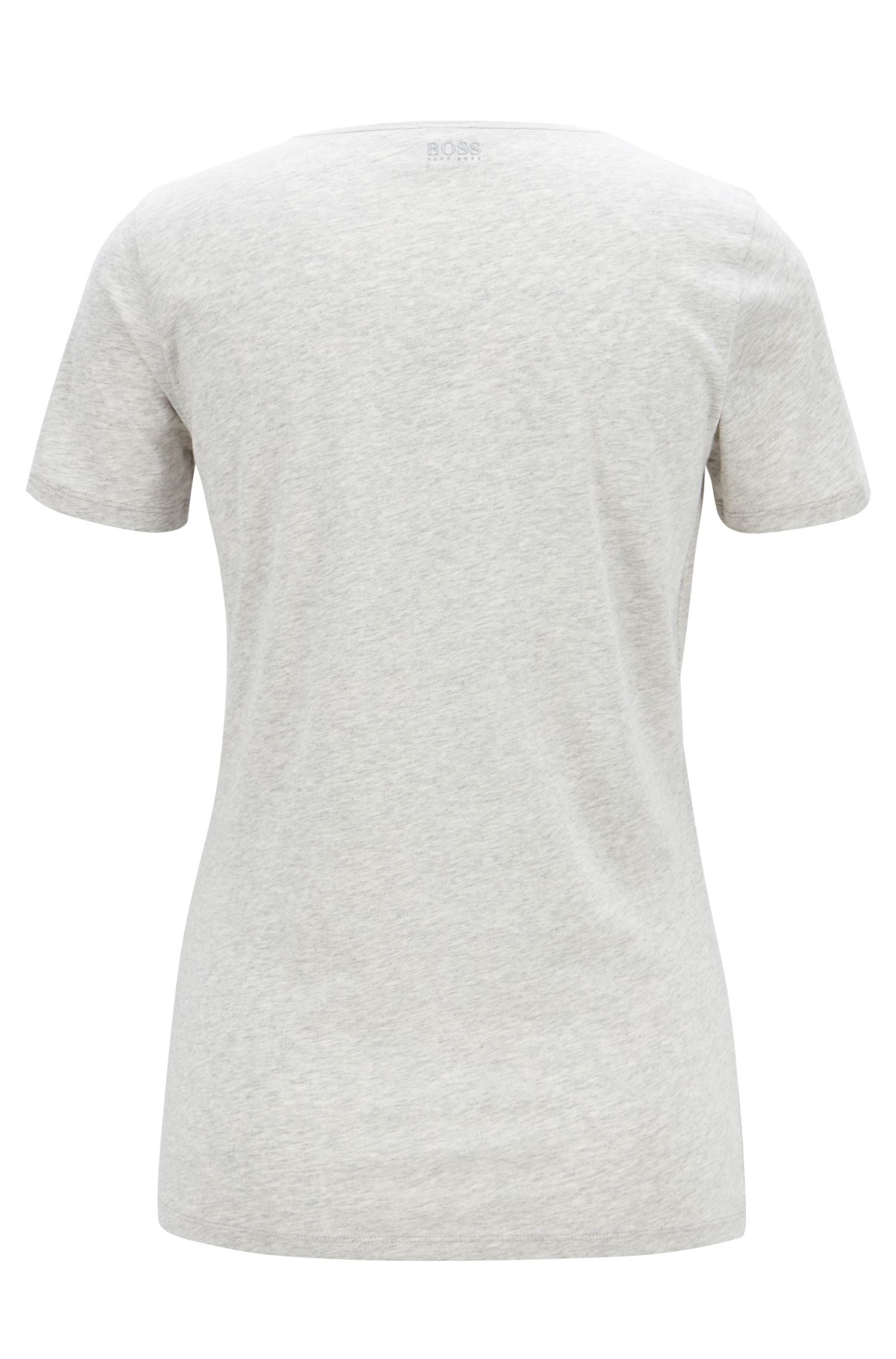 Single-jersey T-shirt in cotton with checked logo print, Silver