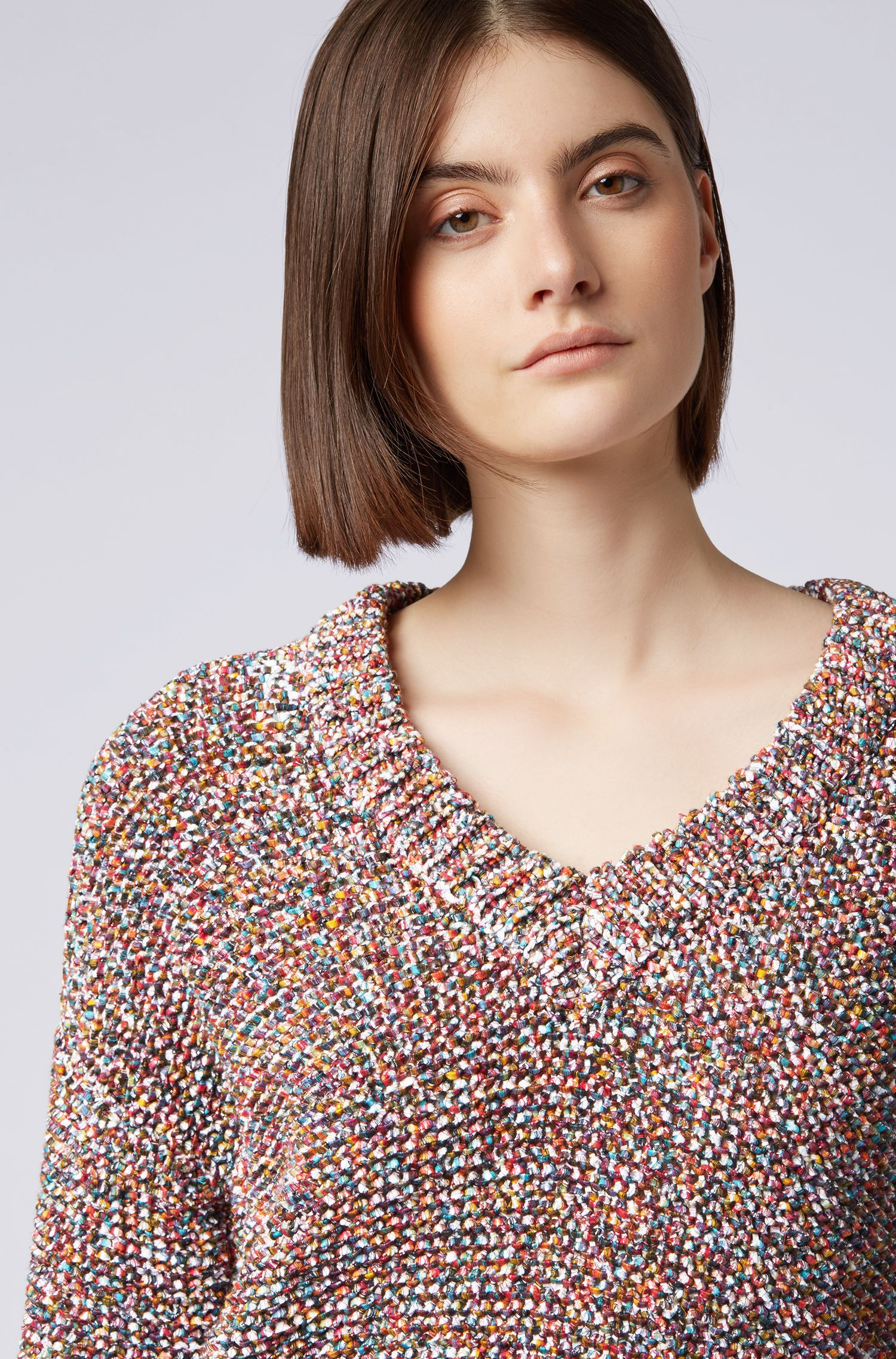 Relaxed-fit V-neck sweater in multicoloured yarn, Patterned