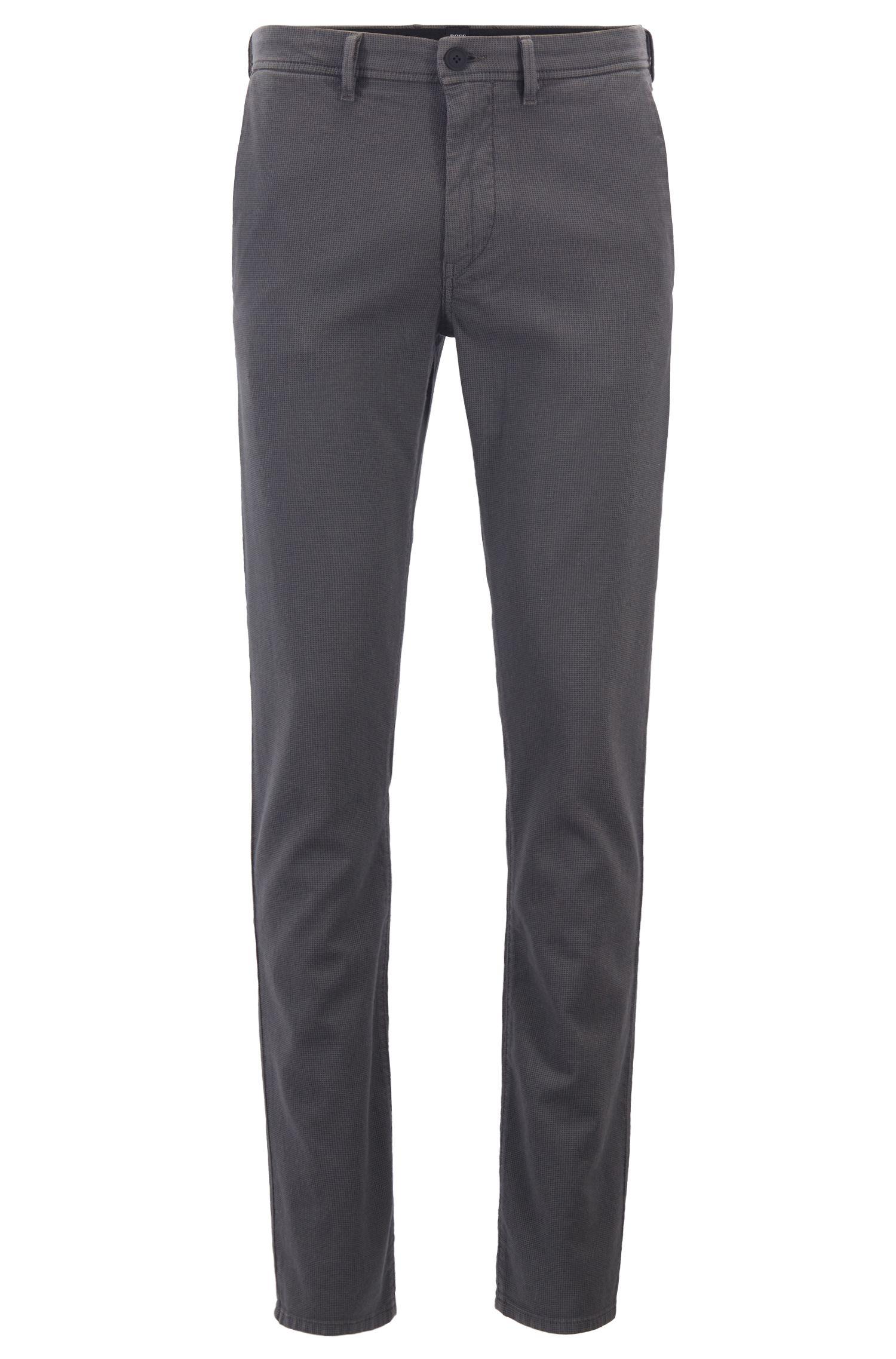 Pantalones slim fit con trabillas de cinturón dobles, Gris marengo