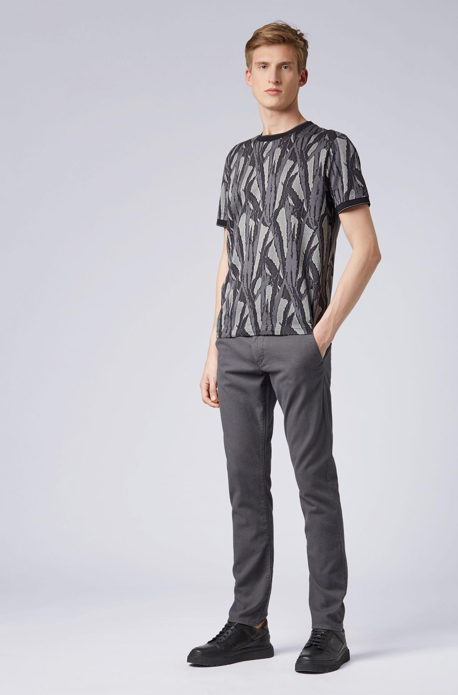 Slim-Fit Hose aus Stretch-Baumwolle mit doppelten Gürtelschlaufen, Anthrazit