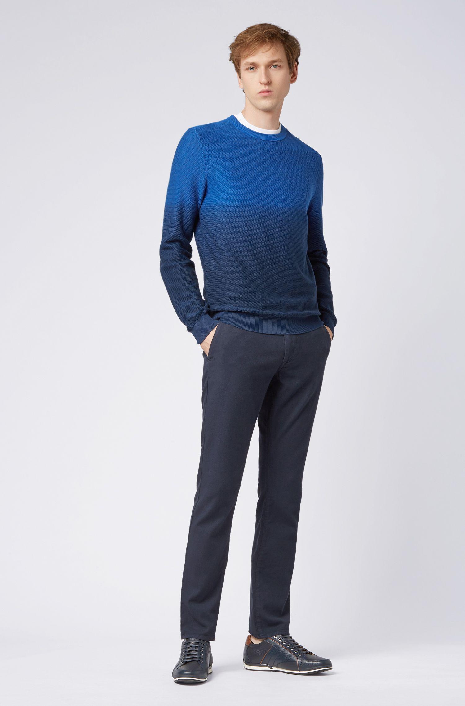 Slim-Fit Hose aus Stretch-Baumwolle mit doppelten Gürtelschlaufen, Dunkelblau