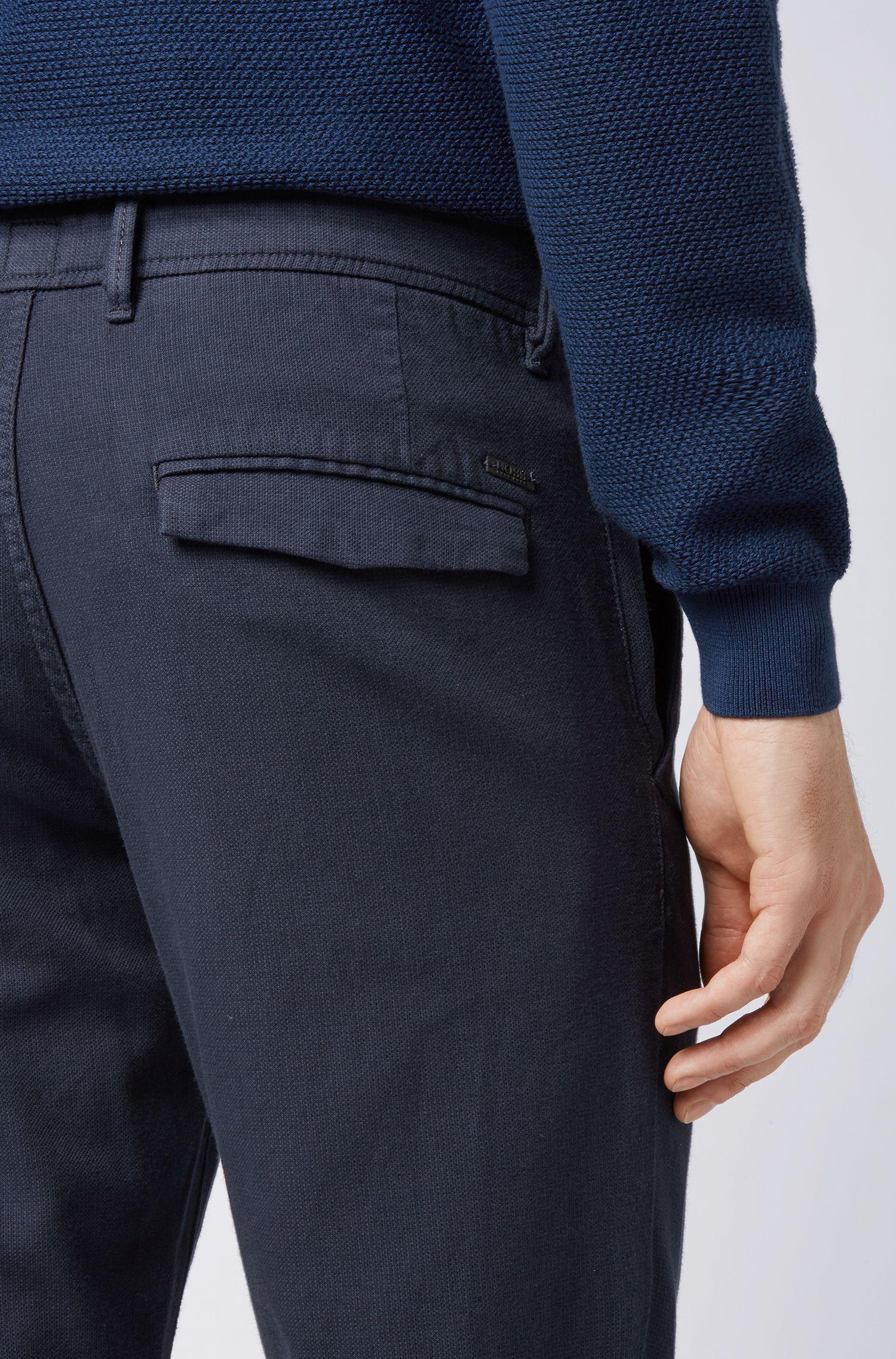Pantalon Slim Fit à doubles passants, Bleu foncé