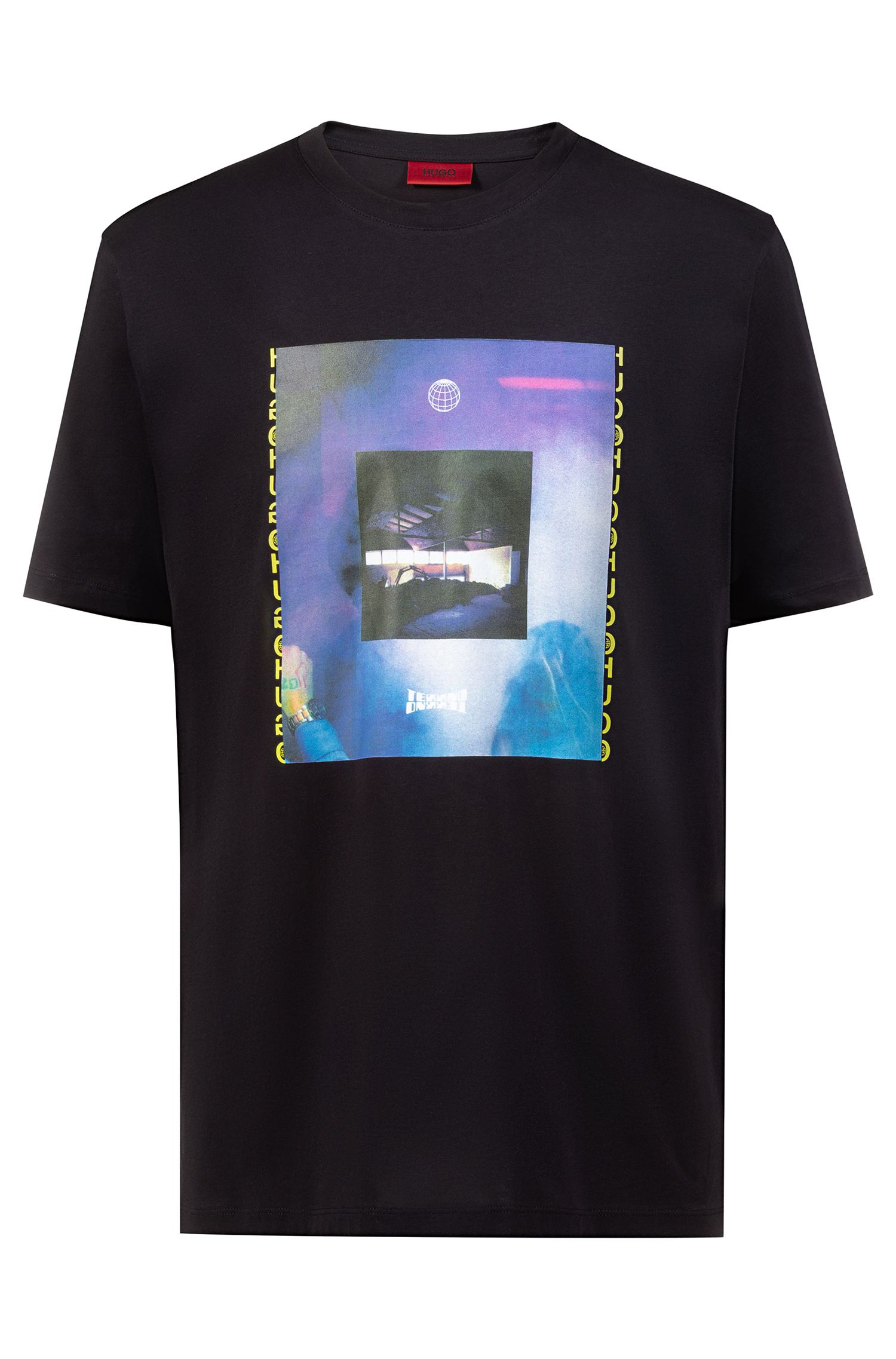 Relaxed-fit T-shirt with 90s-style club artwork, Black