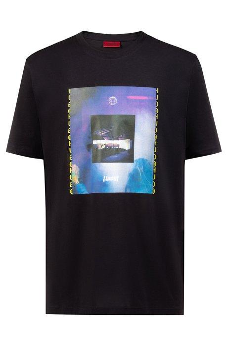 T-shirt Relaxed Fit avec motif artistique inspiré des clubs des années90, Noir