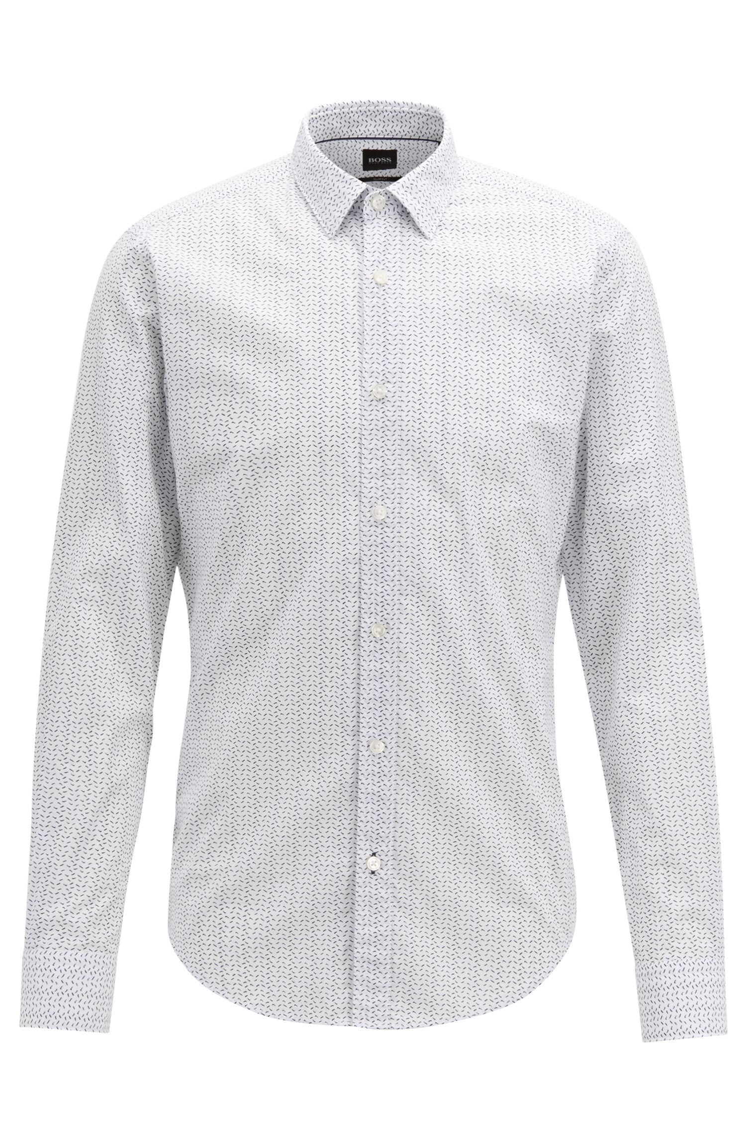 Italian-made slim-fit shirt in patterned cotton, White