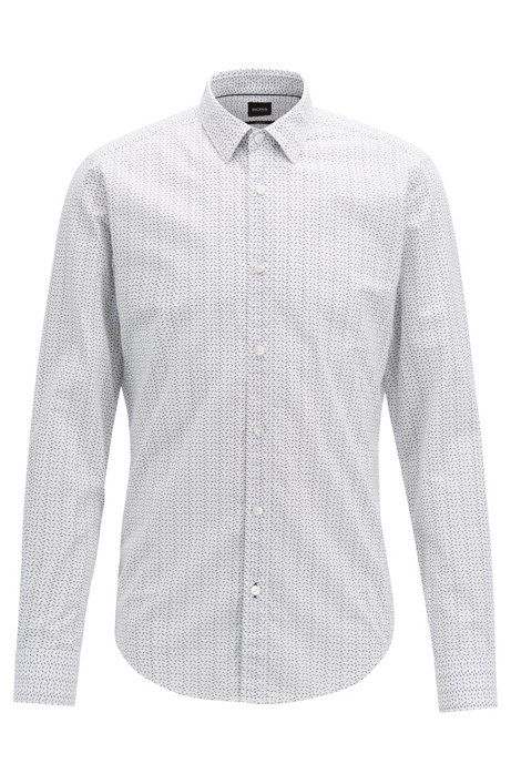 82deb5770606 Italian-made slim-fit shirt in patterned cotton, White