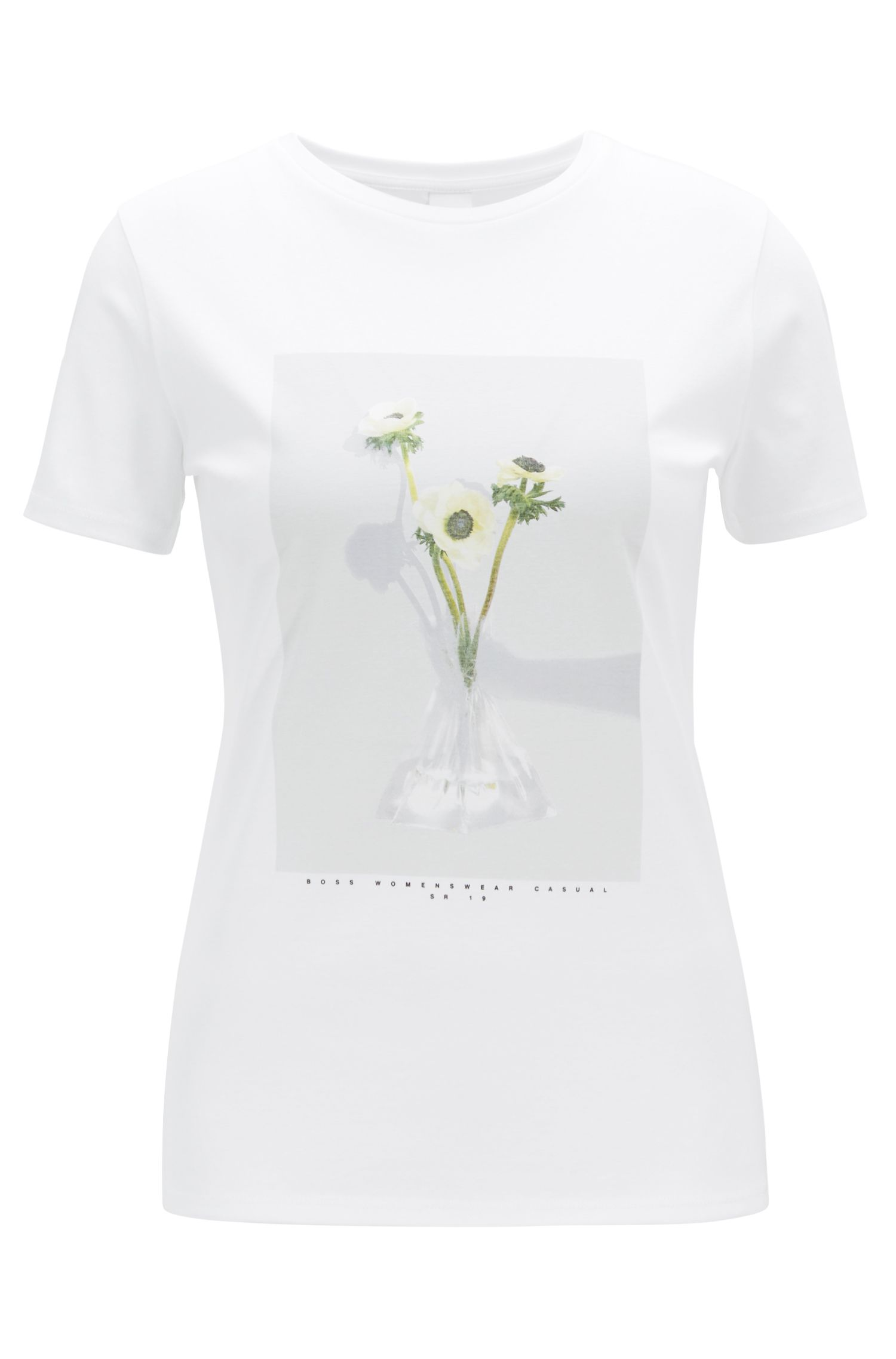 Photo-print T-shirt in pure mercerised cotton, White
