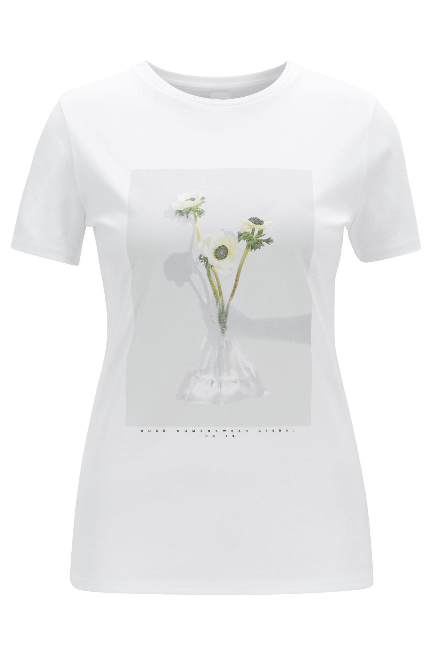 T-shirt in puro cotone mercerizzato con stampa fotografica, Bianco