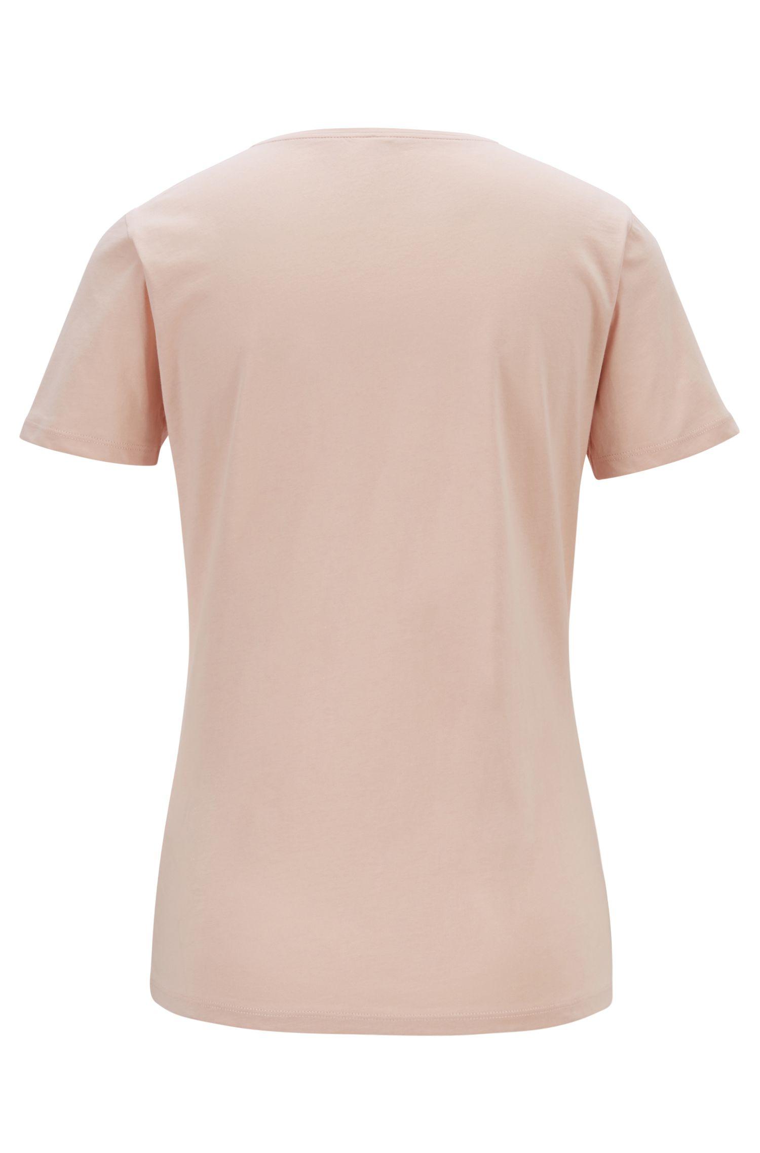 Crew-neck T-shirt with striped logo artwork, light pink