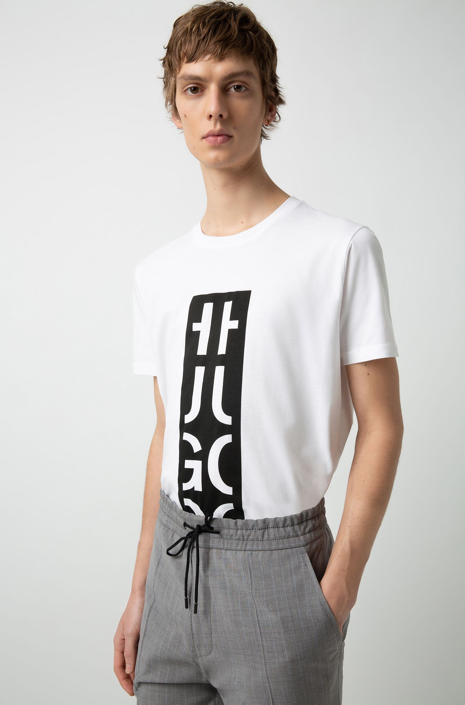 Relaxed-fit T-shirt with graphic logo-interpretation print, White