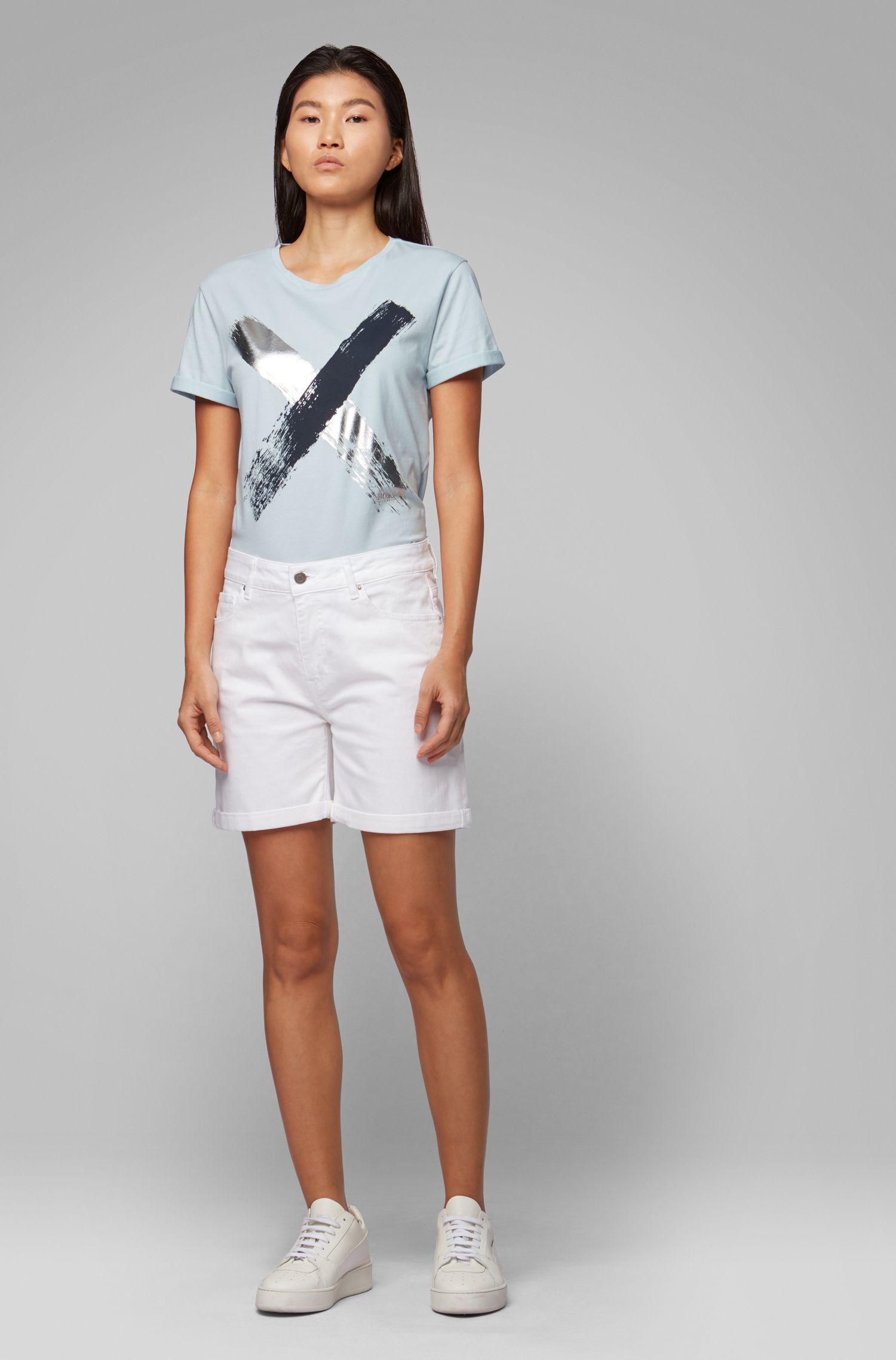 Relaxed-fit T-shirt van katoen met kruisprint, Lichtblauw