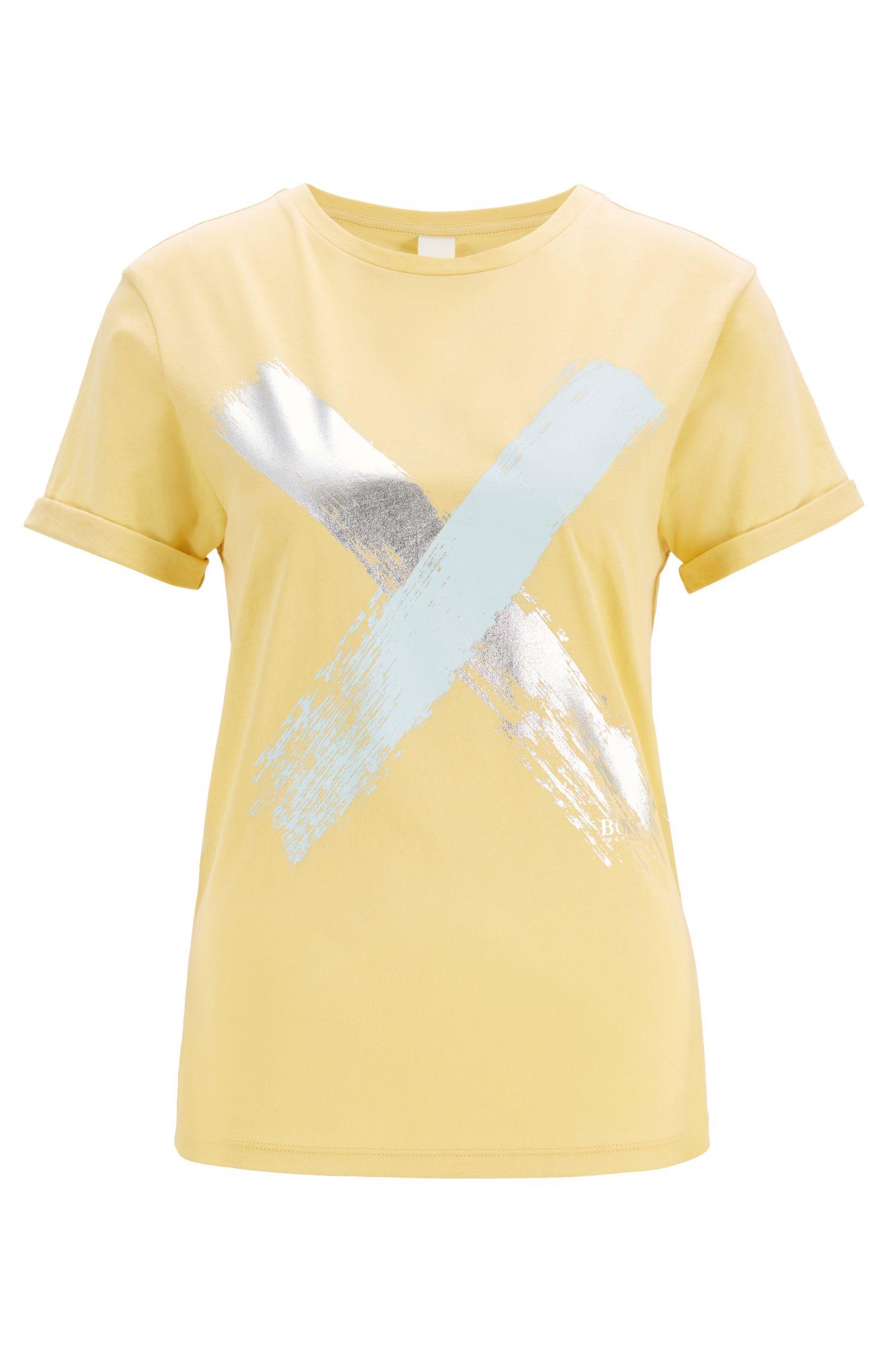 T-Shirt aus Baumwolle mit Kreuz-Print, Hellgelb
