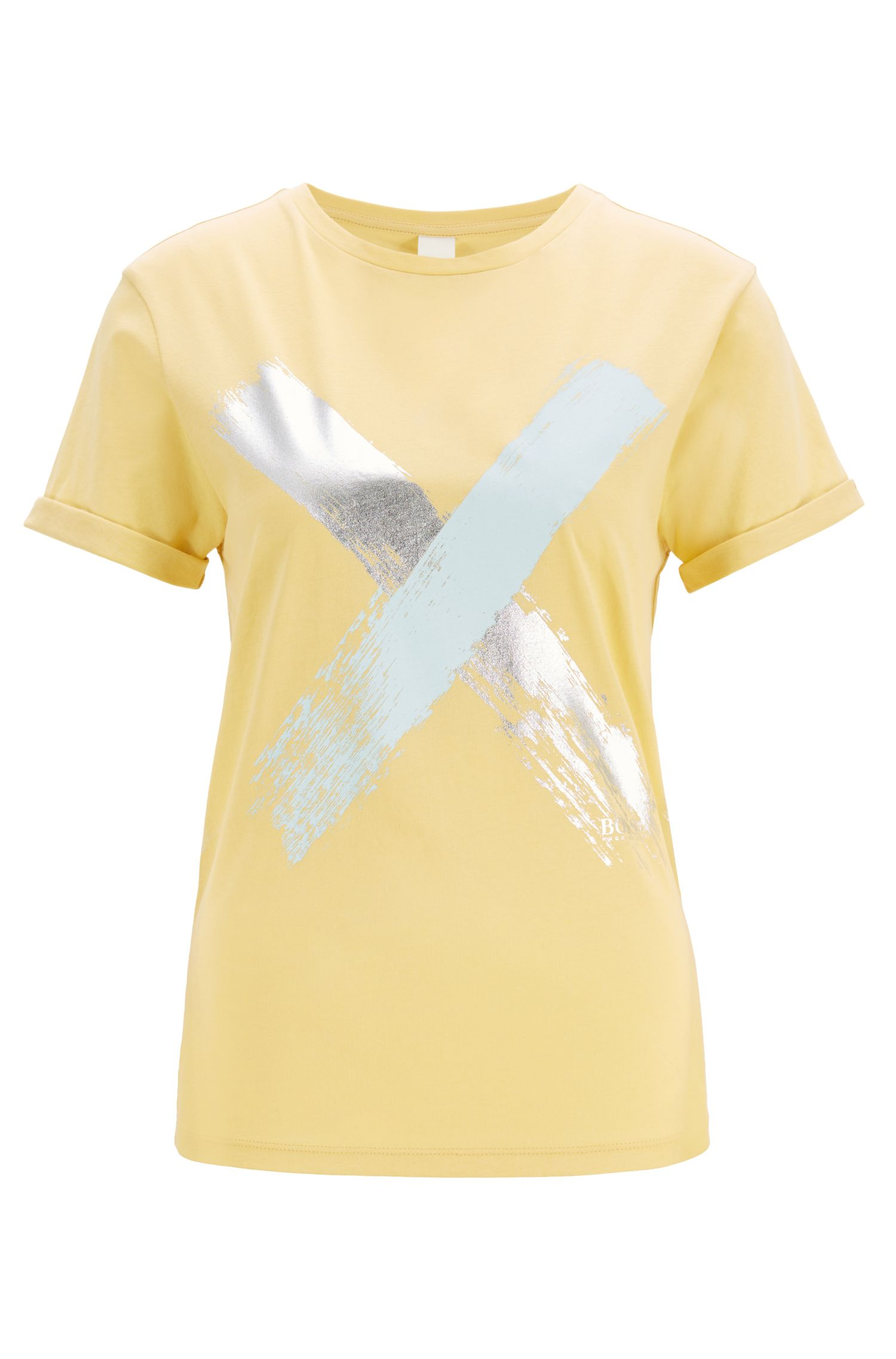 Camiseta relaxed fit en algodón con estampado de cruz, Amarillo claro