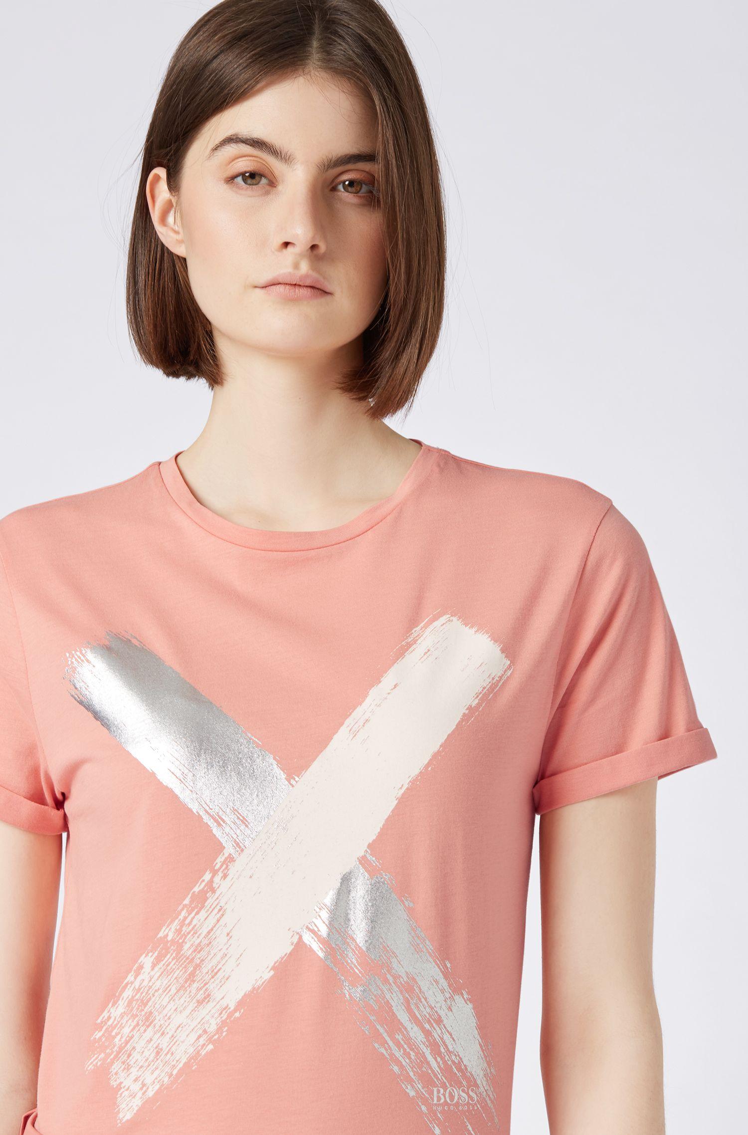 T-Shirt aus Baumwolle mit Kreuz-Print, Hellorange