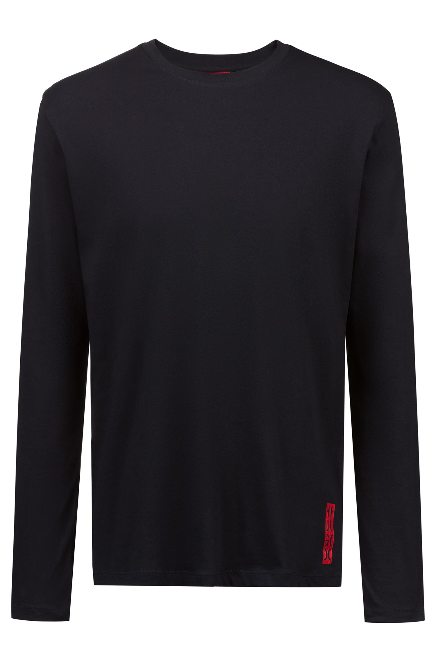 Camiseta relaxed fit de manga larga con gráfico inspirado en nuestro logo, Negro