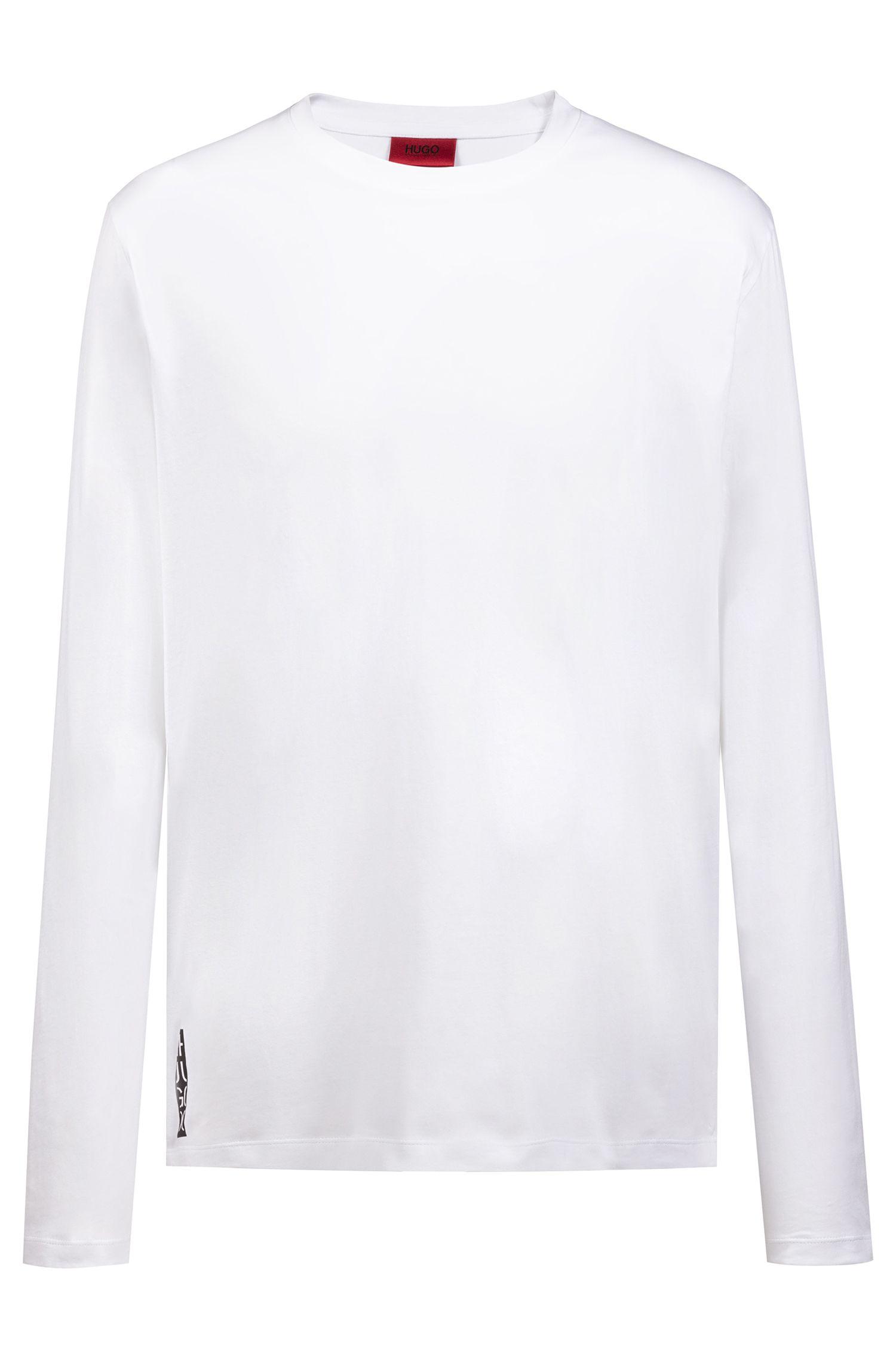 T-shirt à manches longues Relaxed Fit à logo en version graphique, Blanc