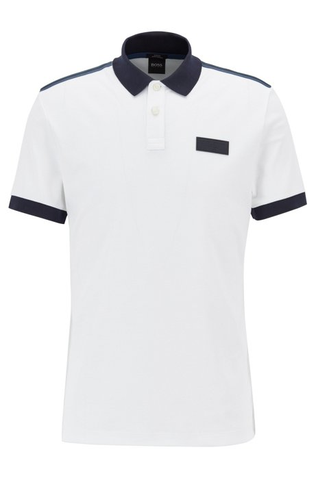 7c20ae956 BOSS - Slim-fit polo shirt with striped shoulder tape