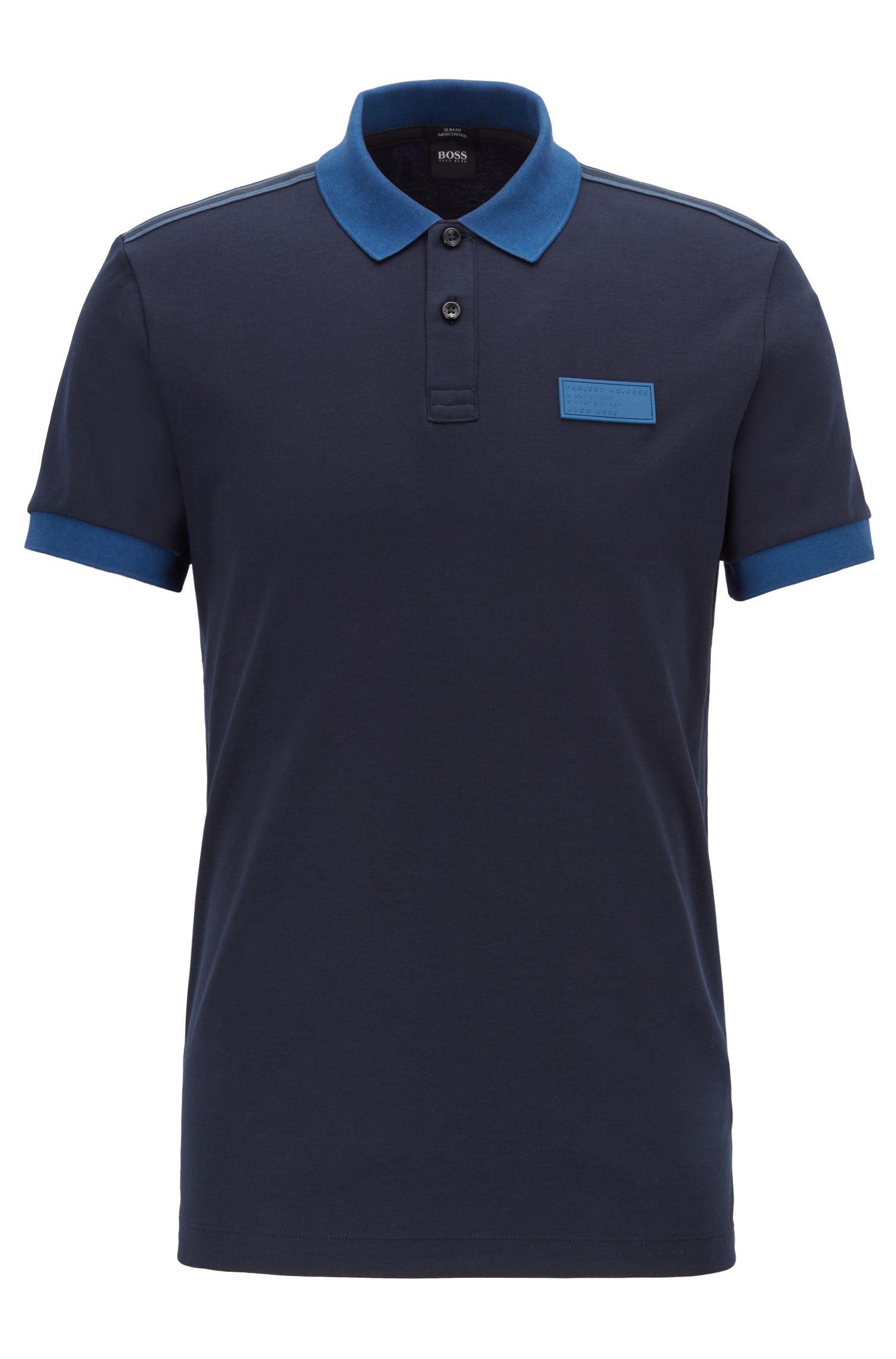 Polo Slim Fit à rubans rayés sur les épaules, Bleu foncé