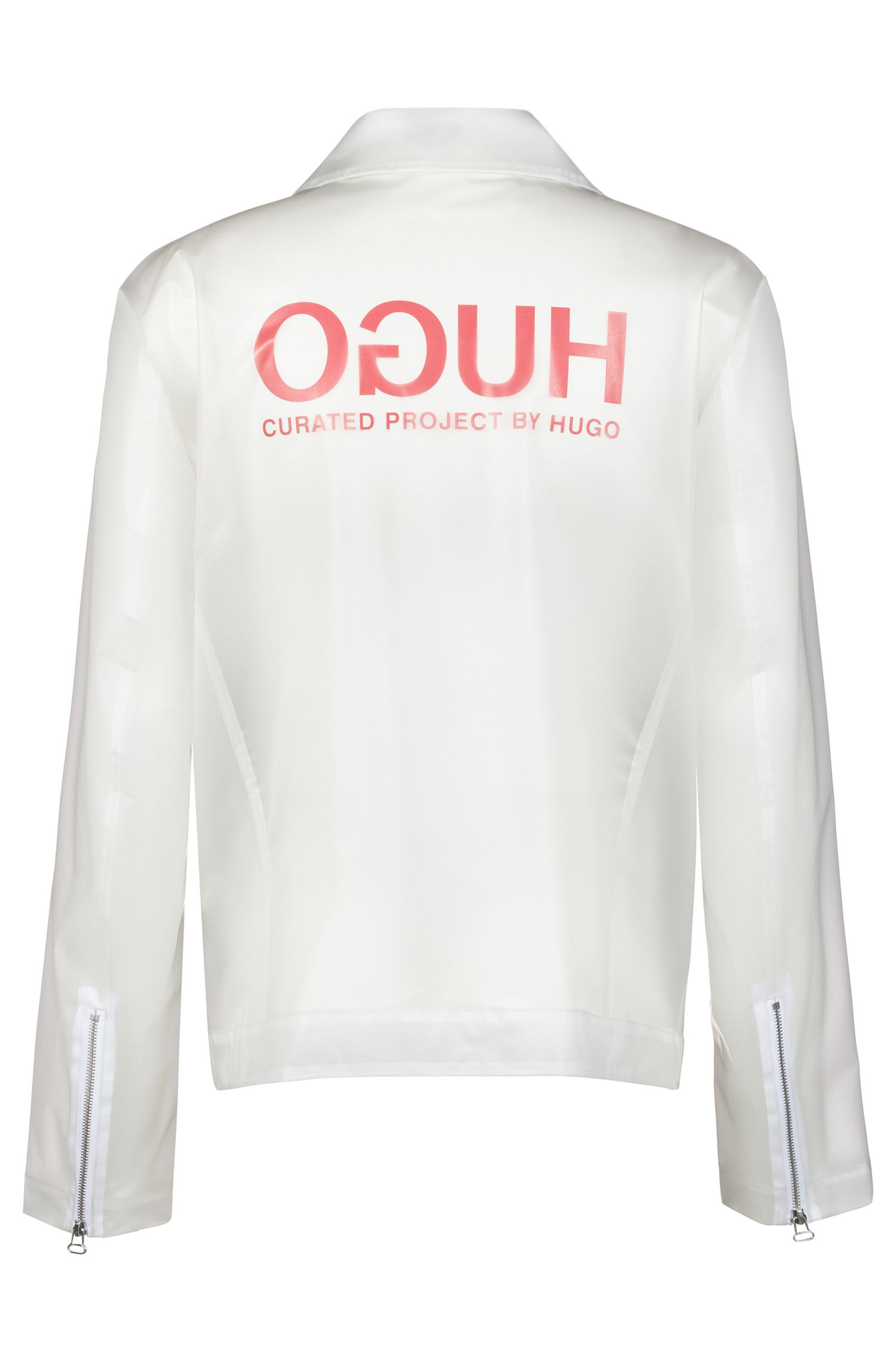 Unisex biker-style logo jacket in transparent material, Transparent