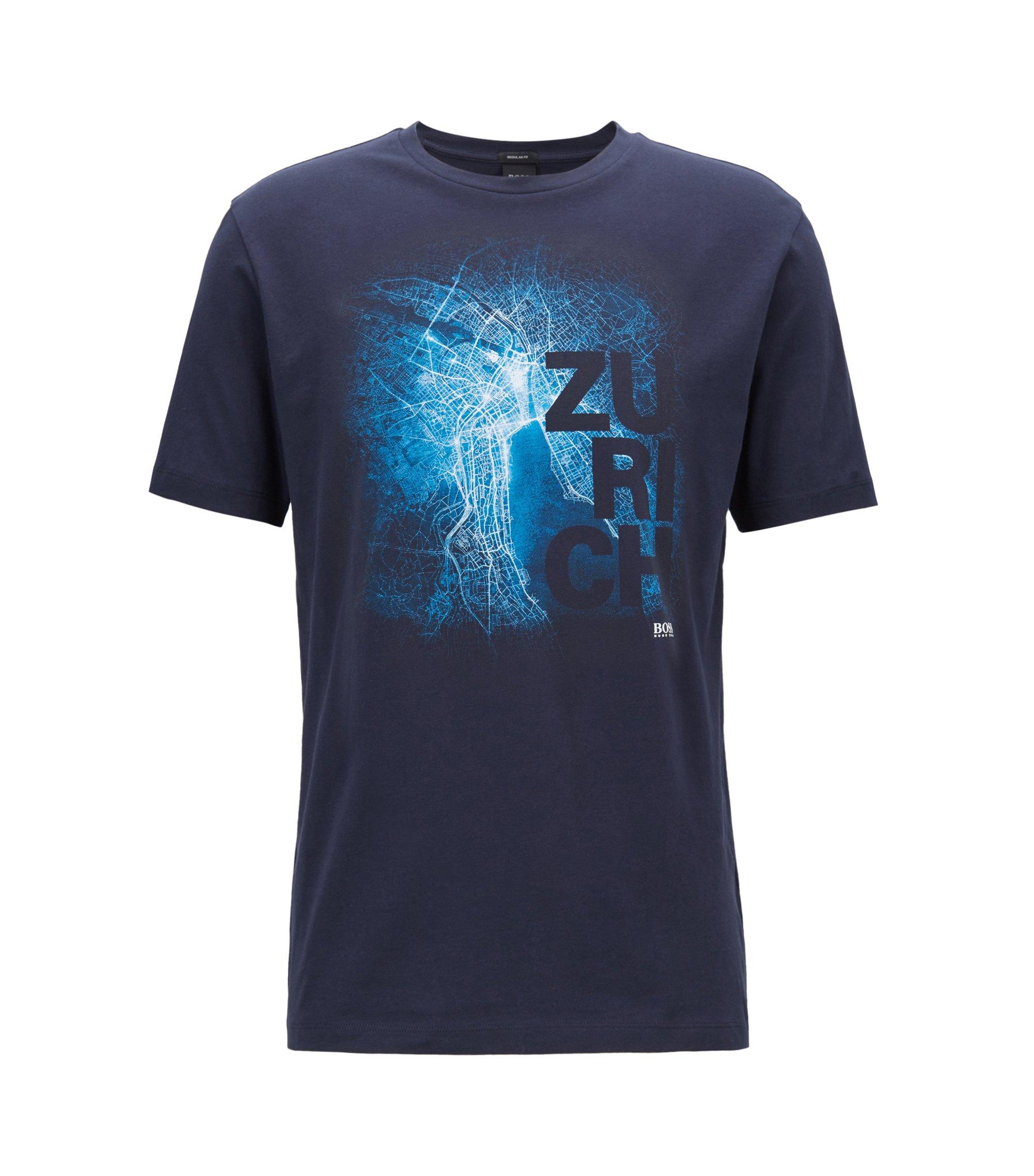 Limited edition Formule E T-shirt met Zürichse stadsprint, Blauw