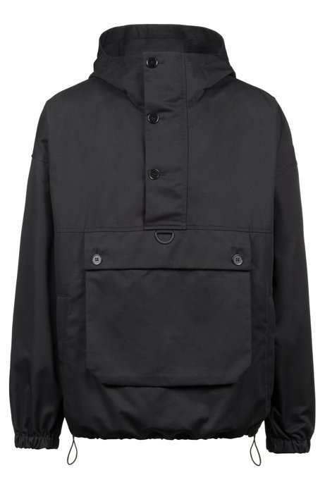 Unisex relaxed-fit windbreaker with hood, Black