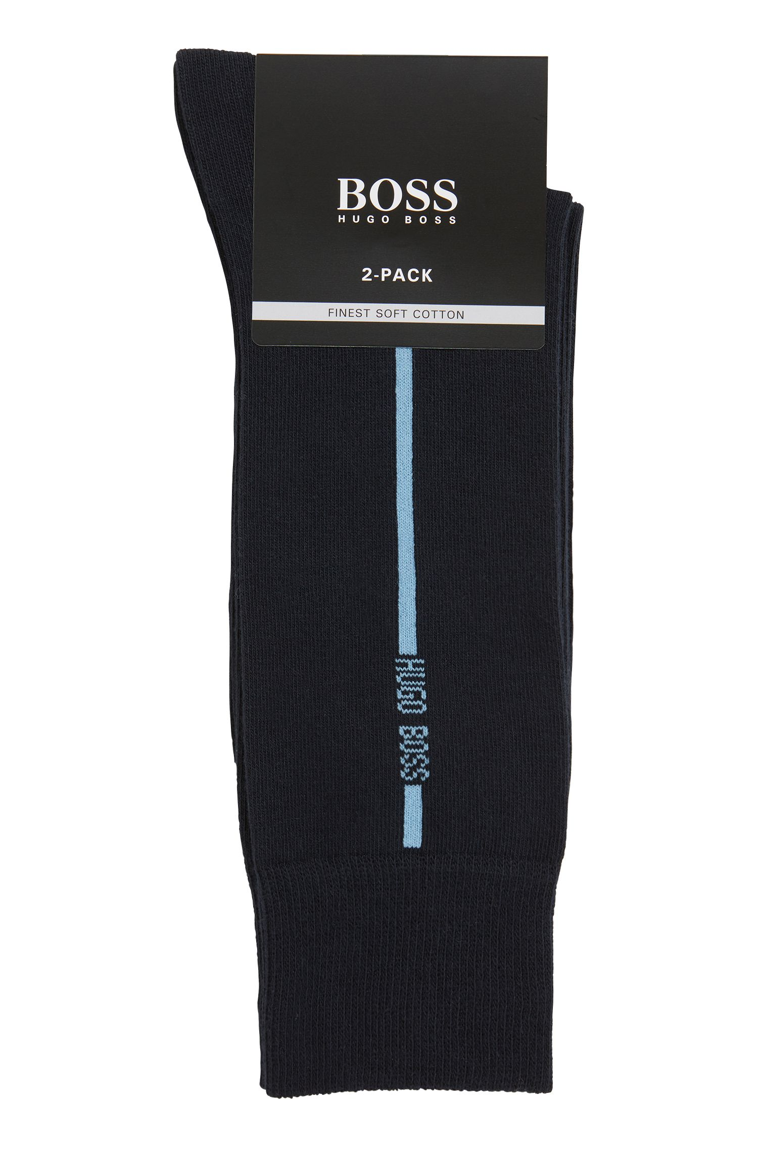 Two-pack of socks in a stretch-cotton blend, Dark Blue