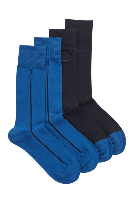 Two-pack of socks in a stretch-cotton blend, Open Blue