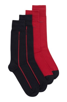 Two-pack of regular-length socks in a cotton blend, Red