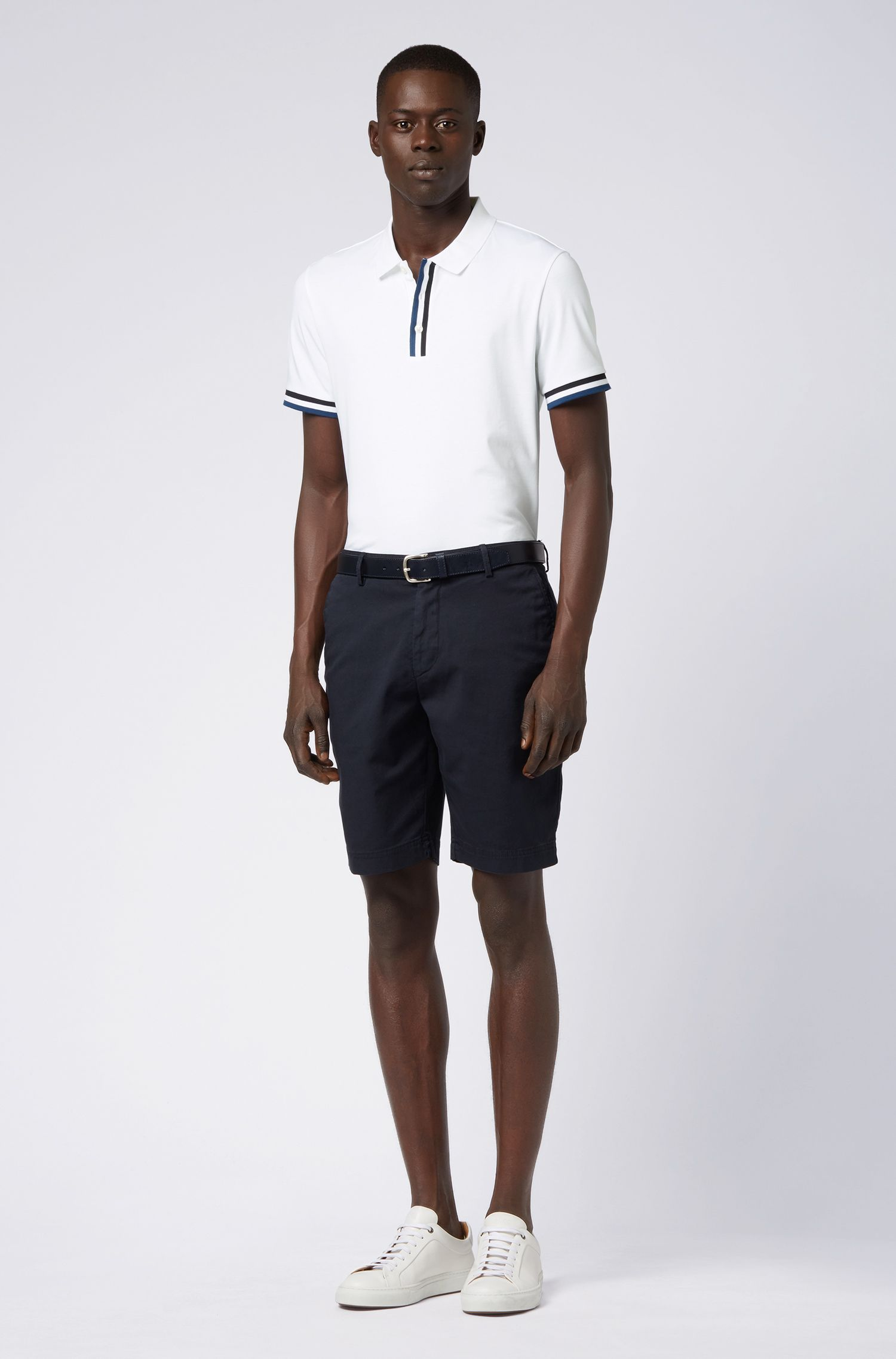 Polo Slim Fit à rayures en maille plate, Blanc