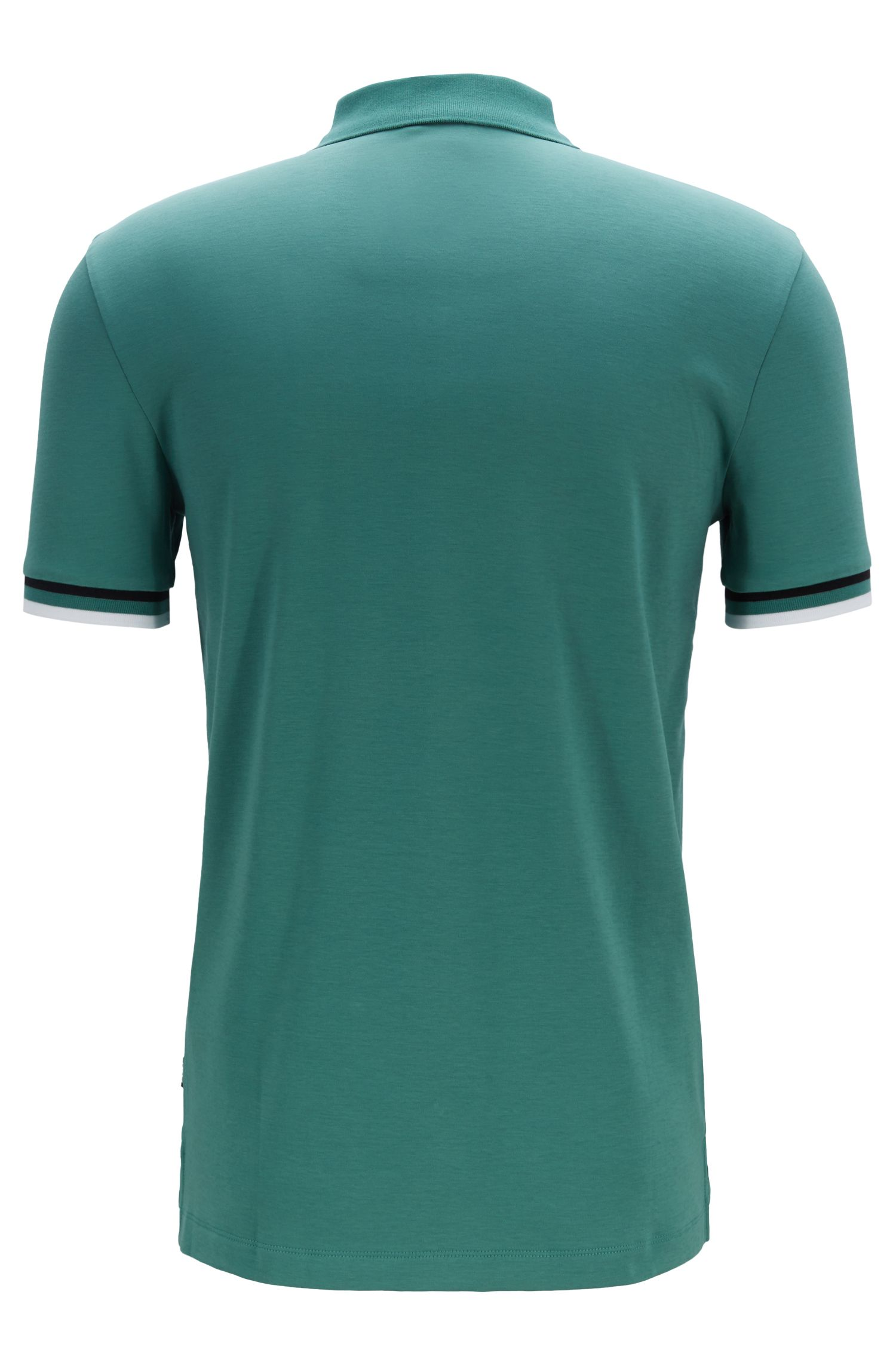 Polo Slim Fit à rayures en maille plate, Vert