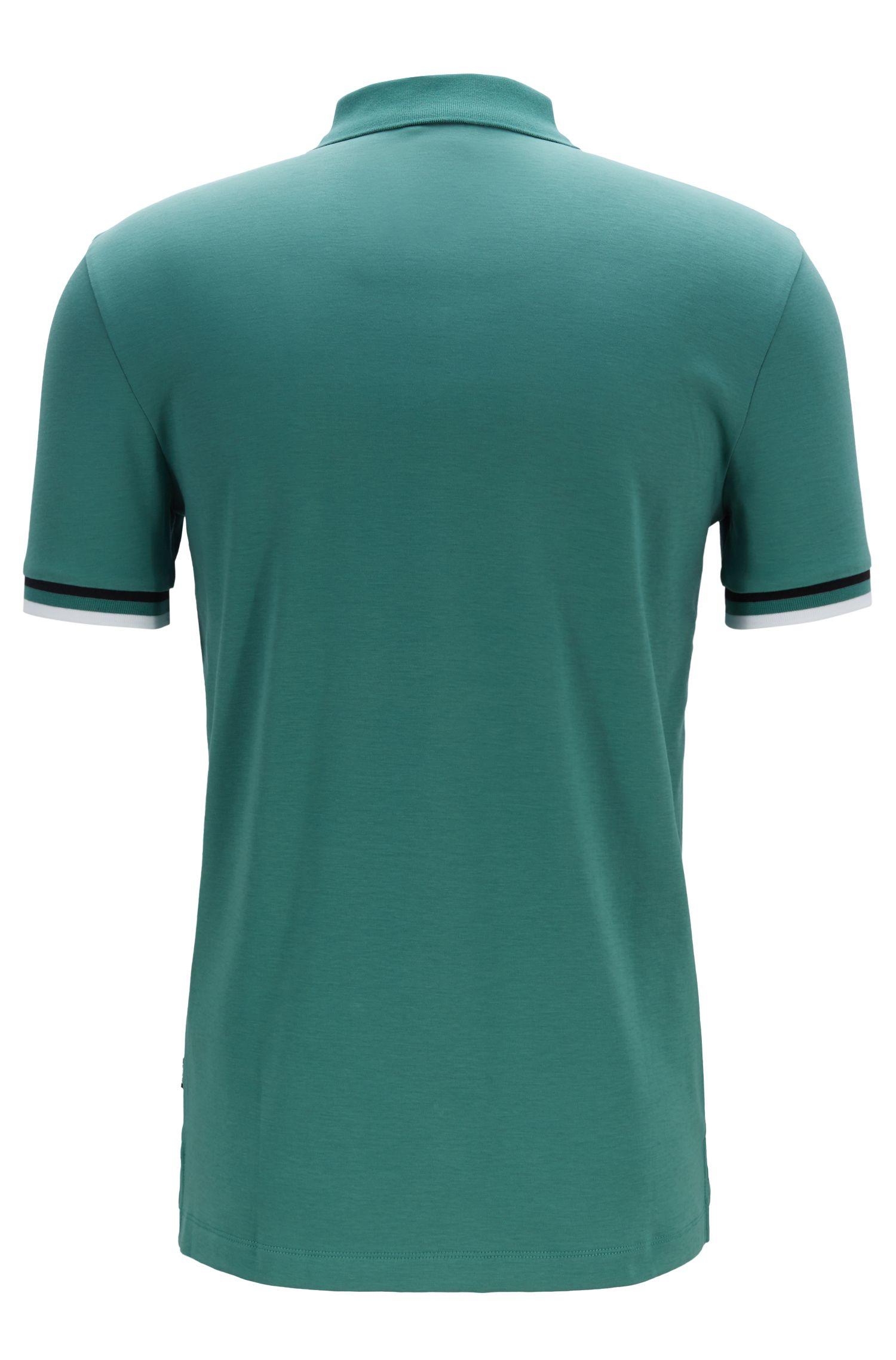 Poloshirt aus Baumwolle mit flachgestrickten Streifen, Grün