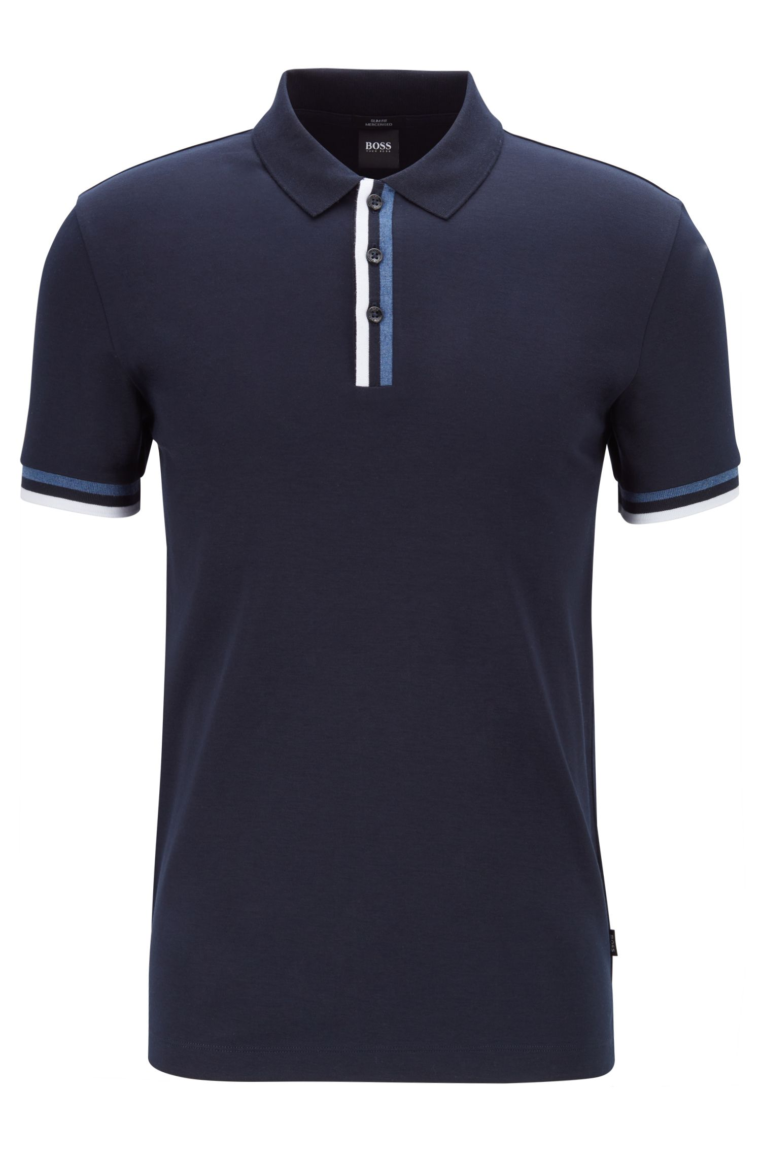 Slim-fit polo shirt with flat-knit stripes, Dark Blue