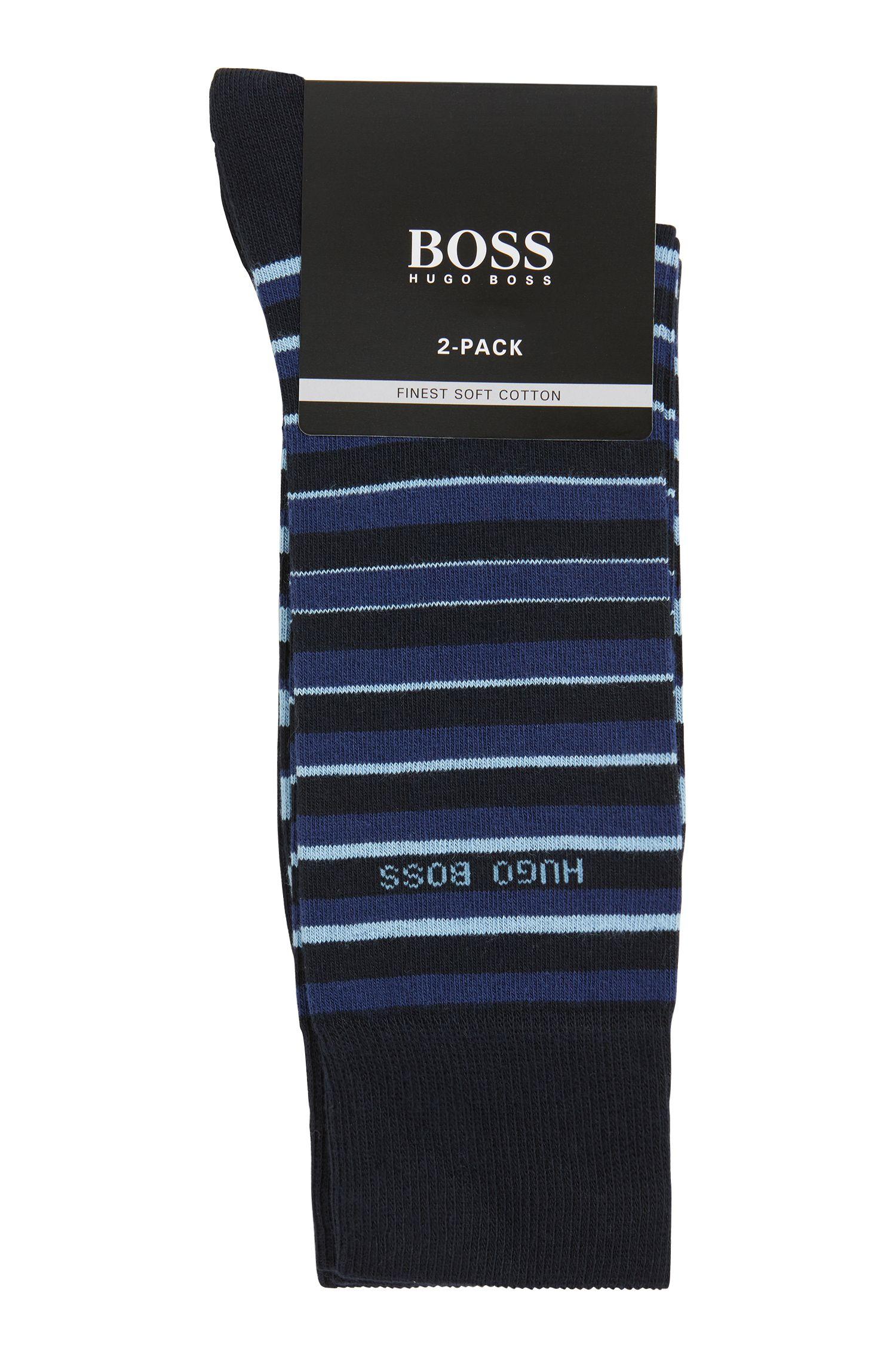 Calze in misto cotone elasticizzato in confezione da due, Blu scuro
