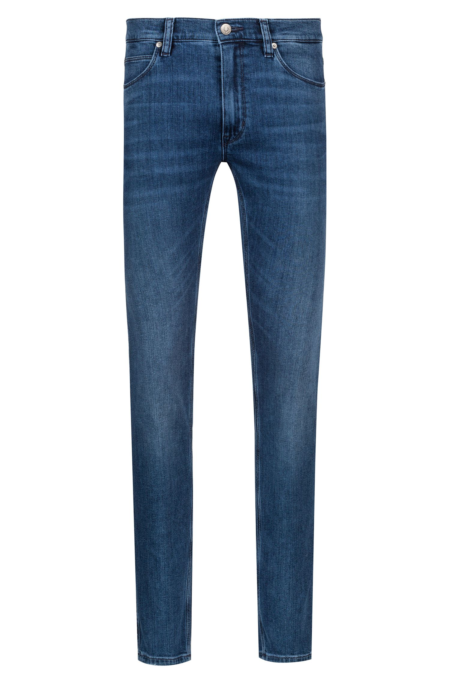 Jean Skinny Fit en denim stretch à effet usé, Bleu
