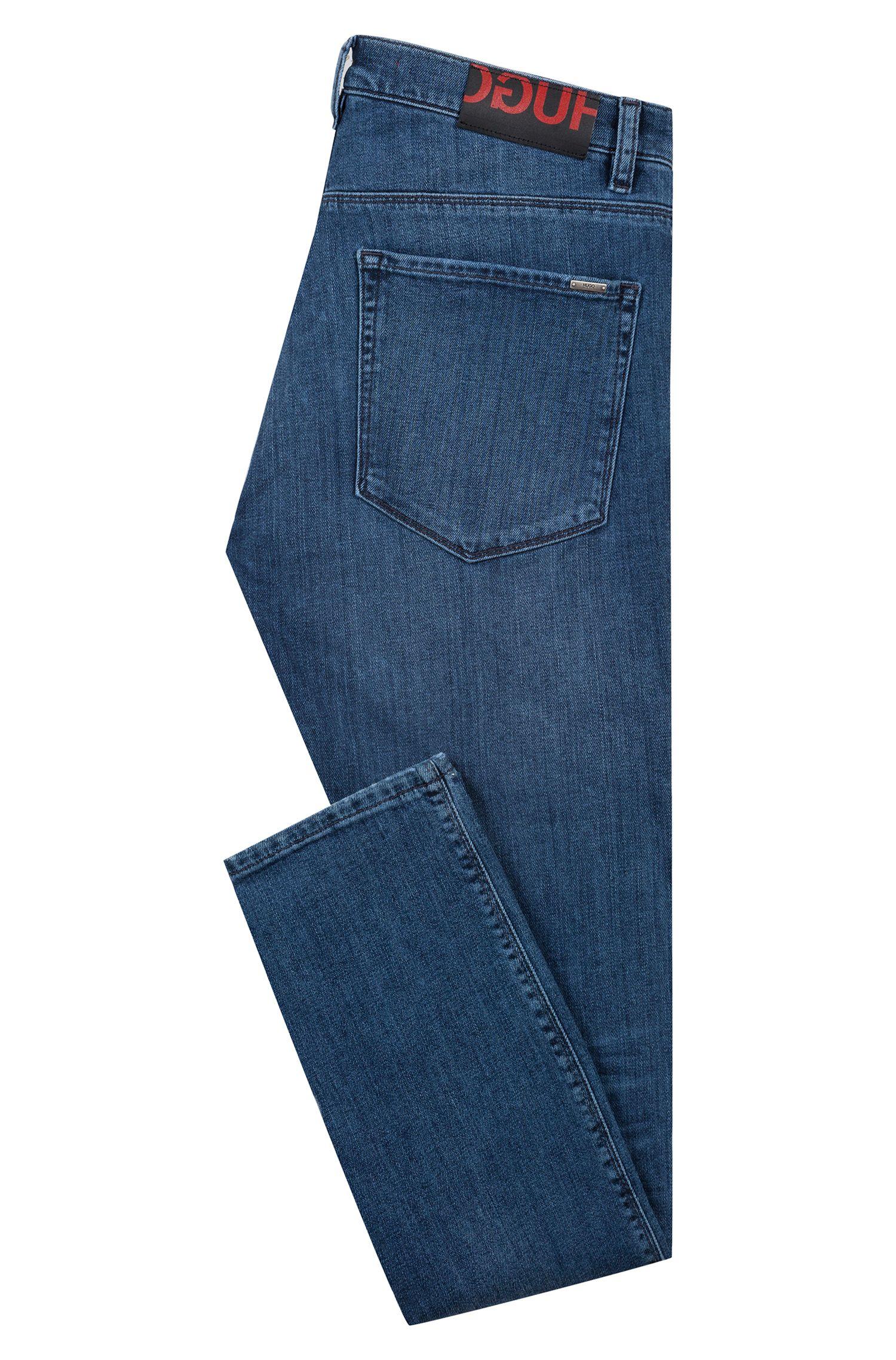 Vaqueros skinny fit en denim elástico de efecto vintage, Azul