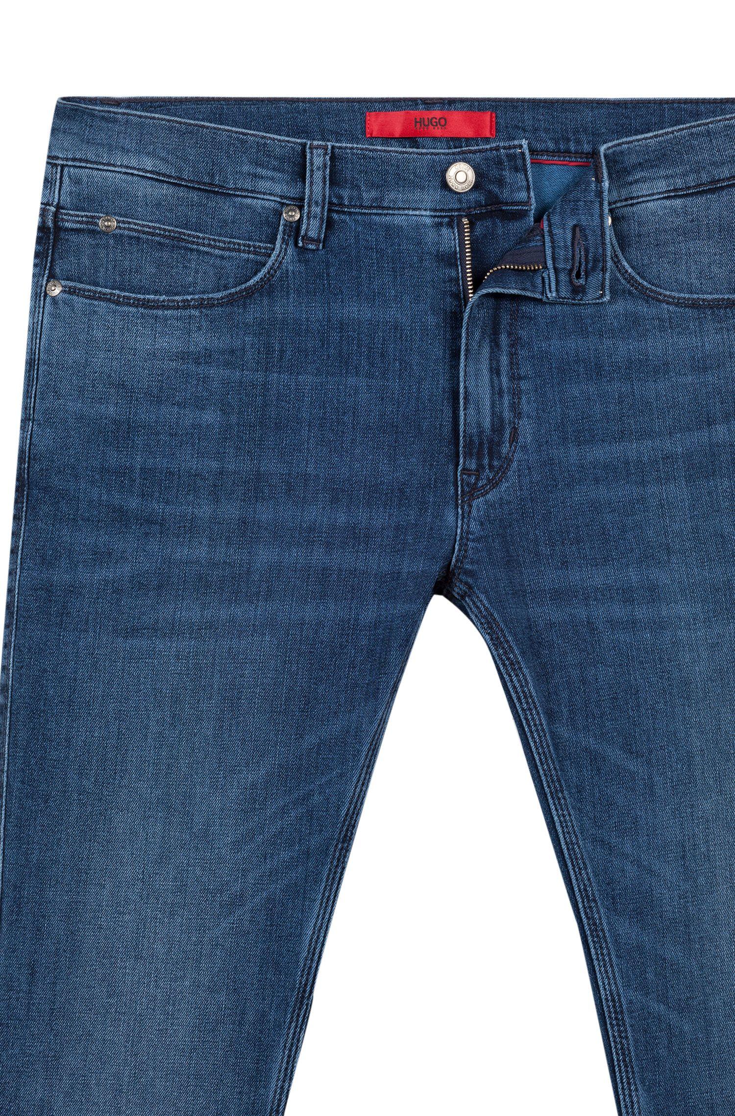 Skinny-Fit Jeans aus Stretch-Denim im Used-Look, Blau